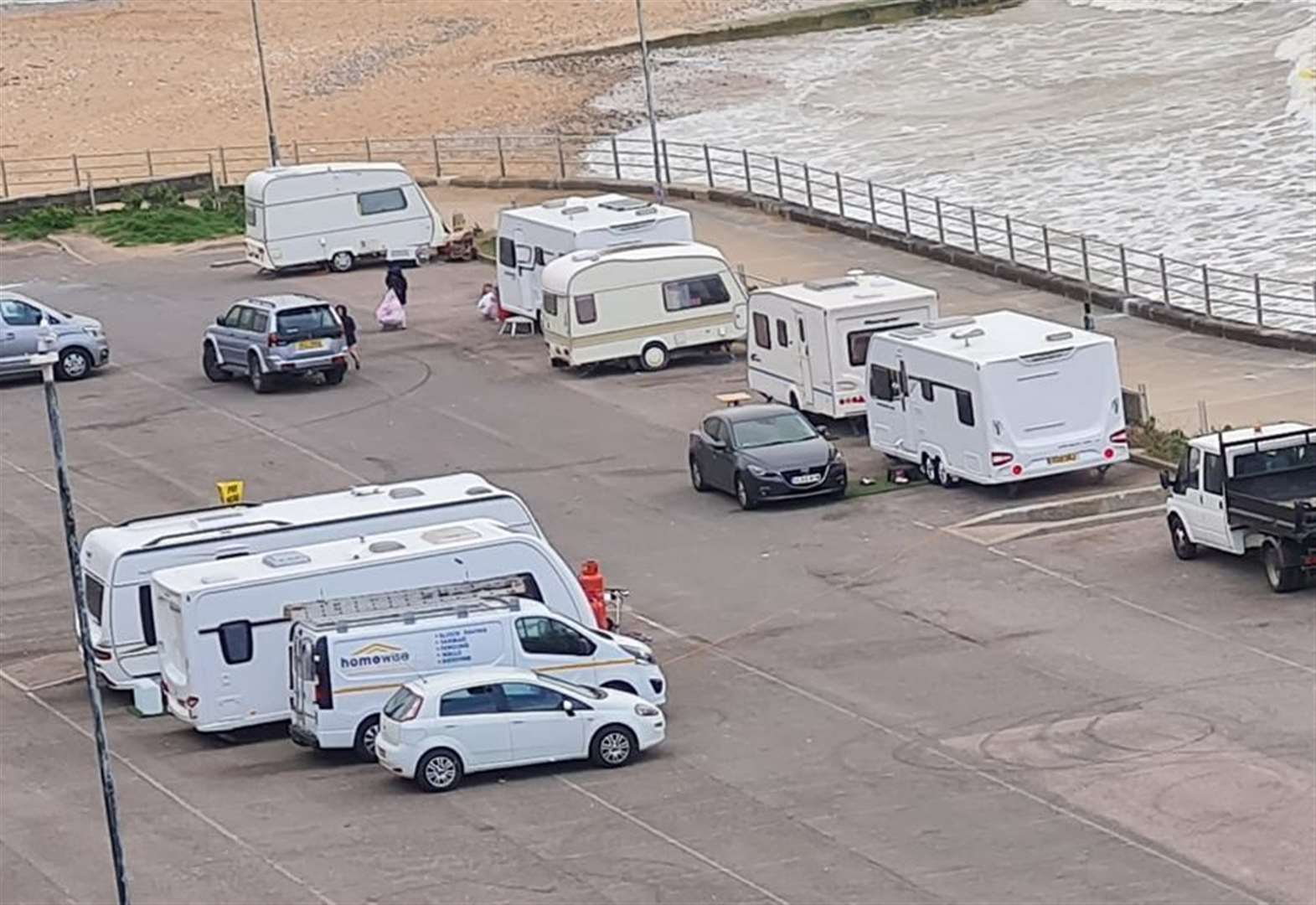 Travellers pitch up at popular seaside spot