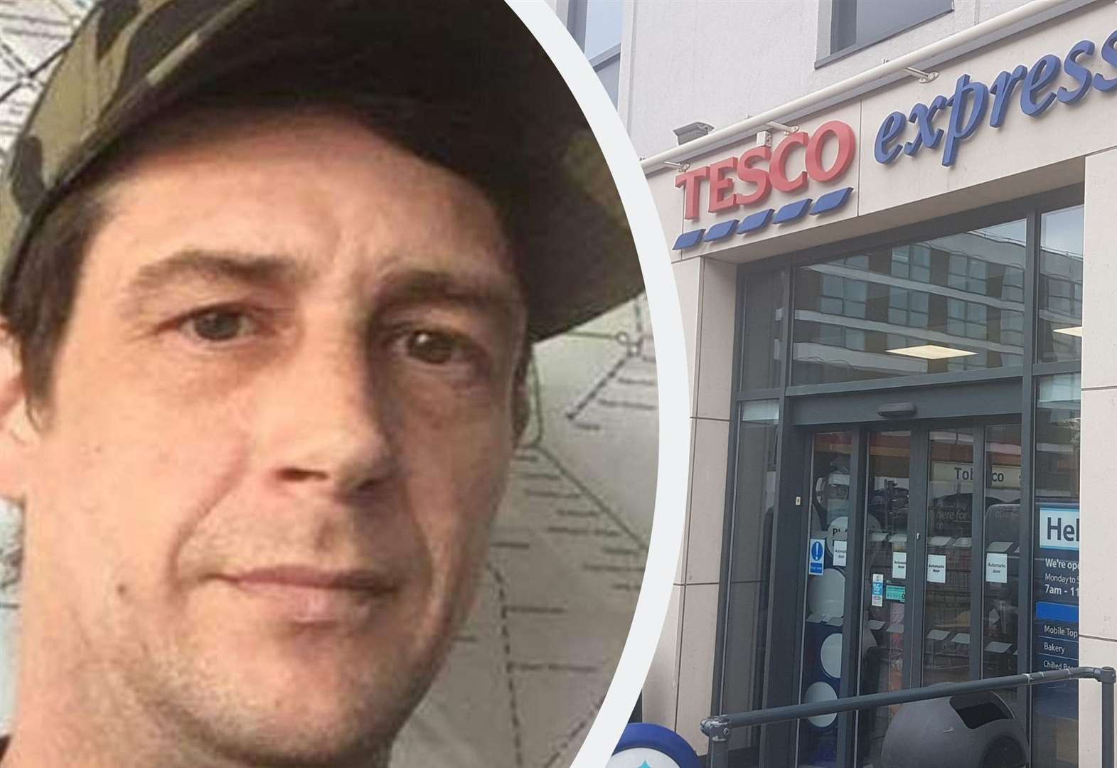 Axeman bites Tesco security guard