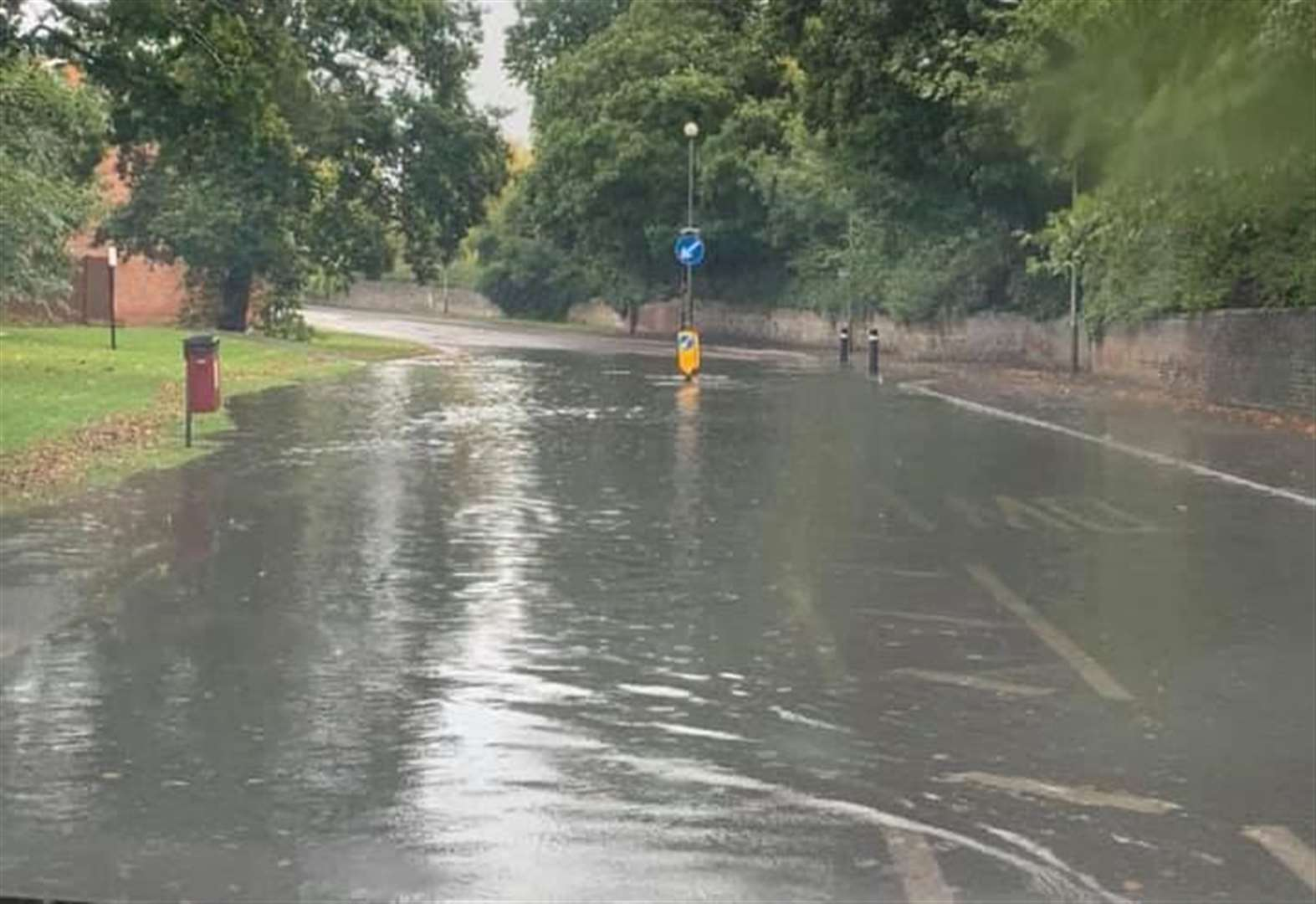 Diversions after flooding on road
