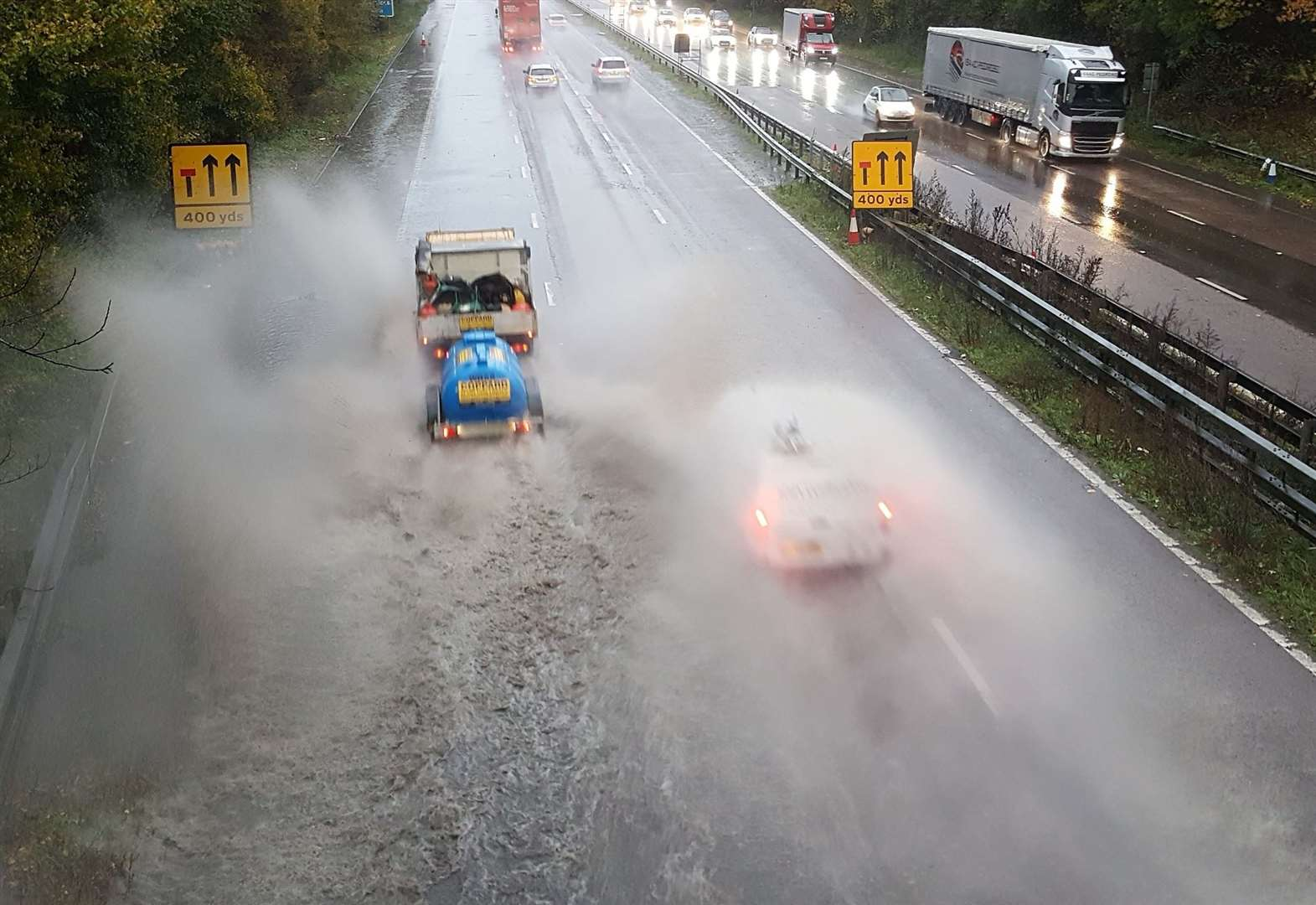 Rain causes perilous driving conditions