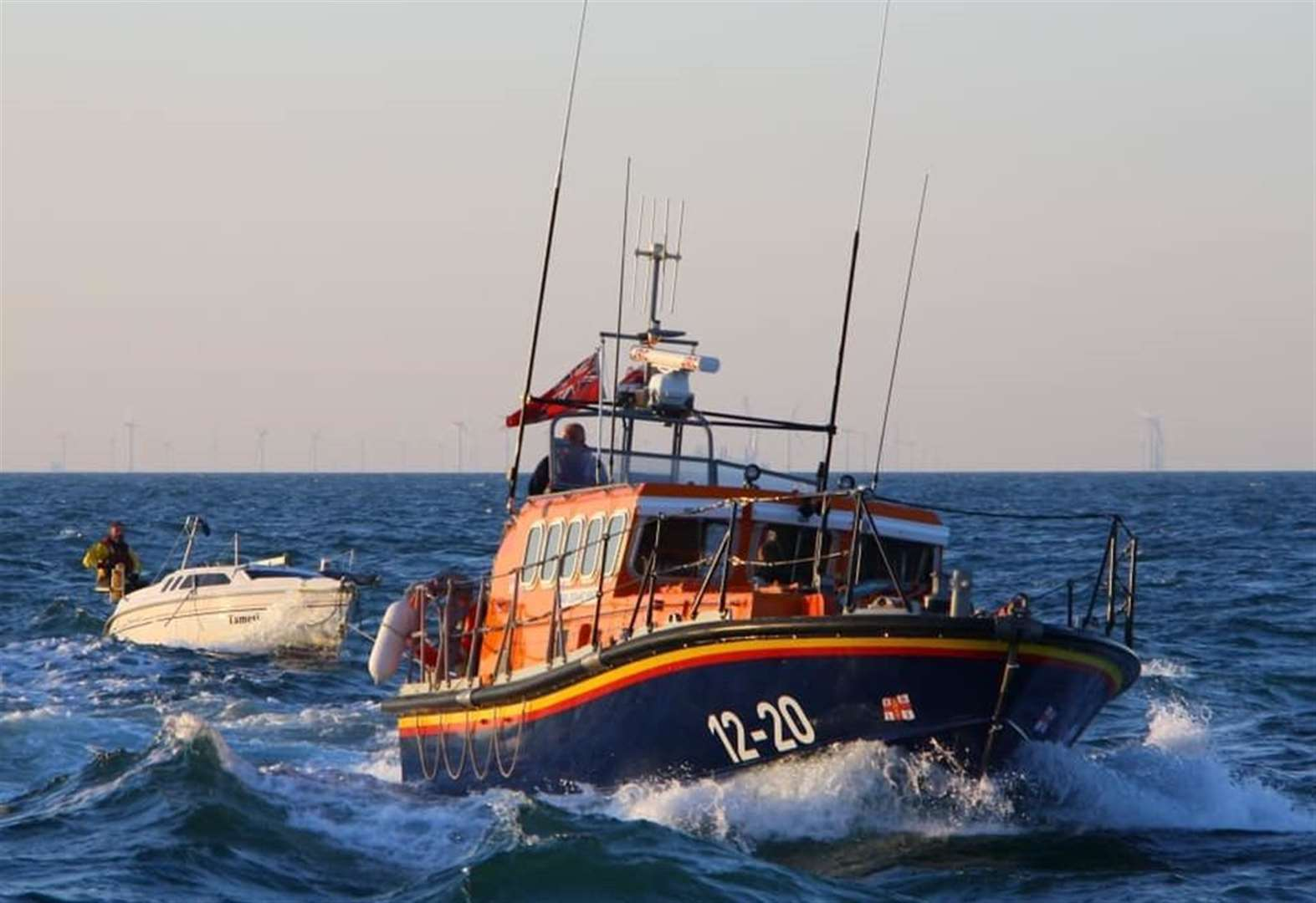 Lifeboat called to boat 'tied to wind turbine'