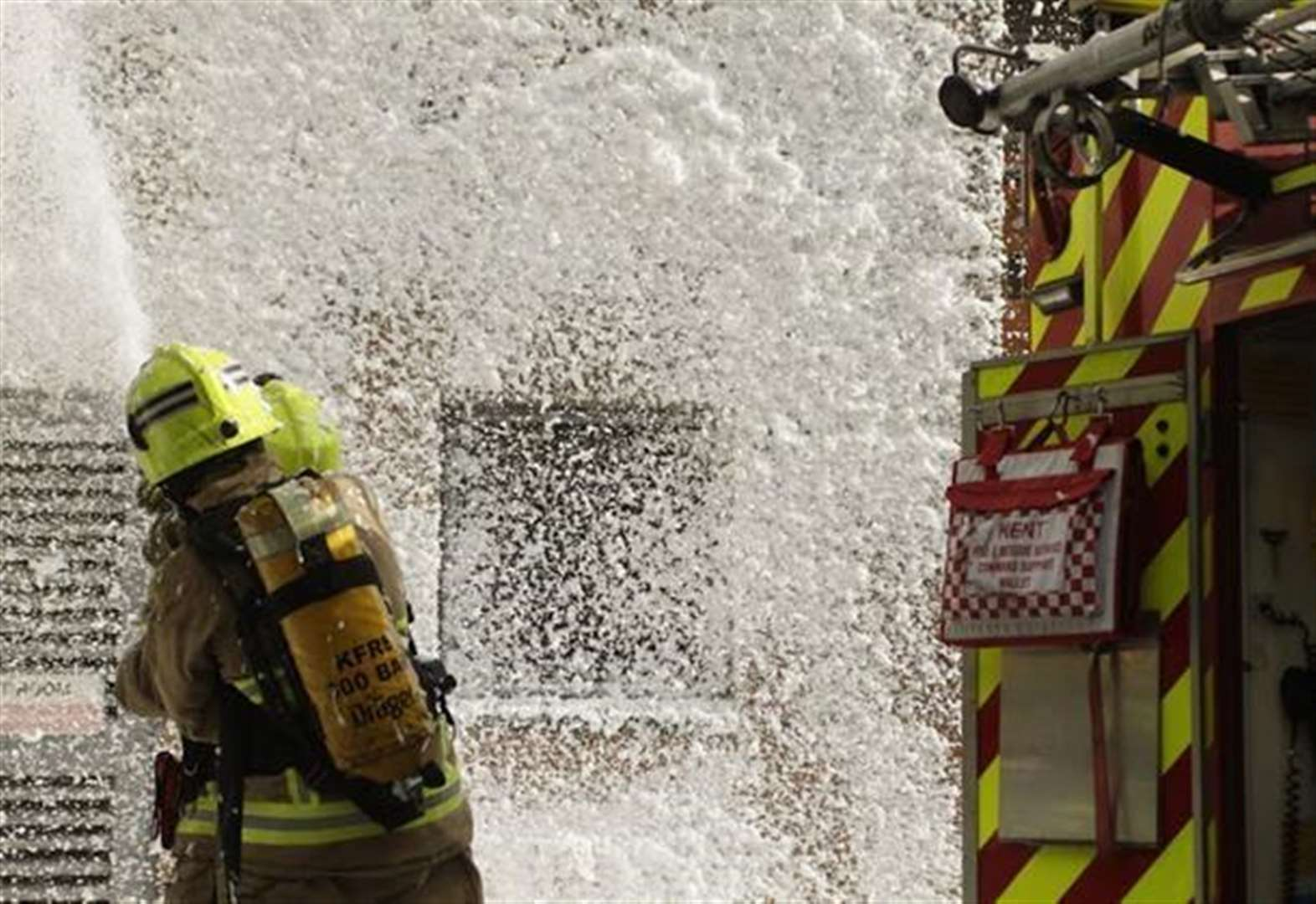 Firefighters tackle flats blaze