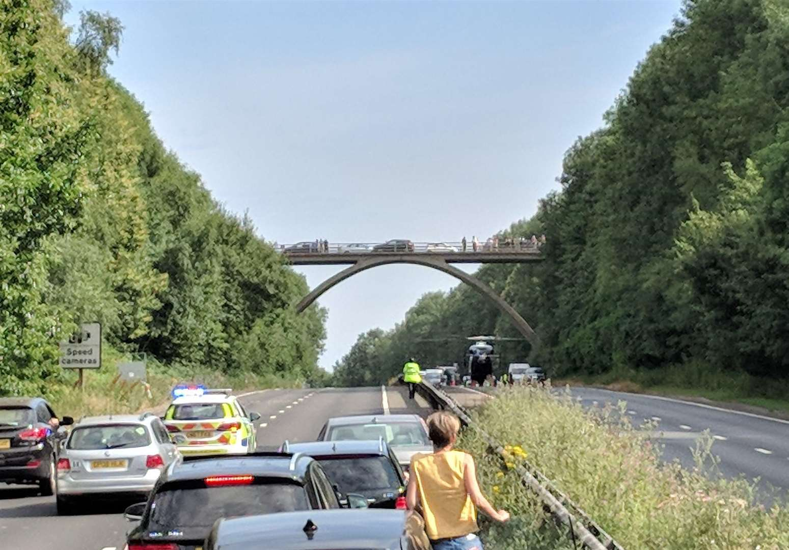 Woman dies after falling from bridge onto carriageway