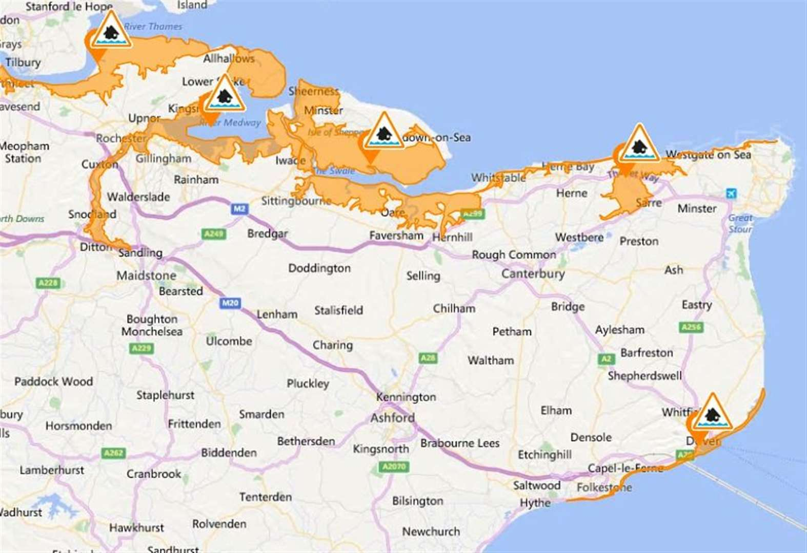 Parts of Kent on flood alert