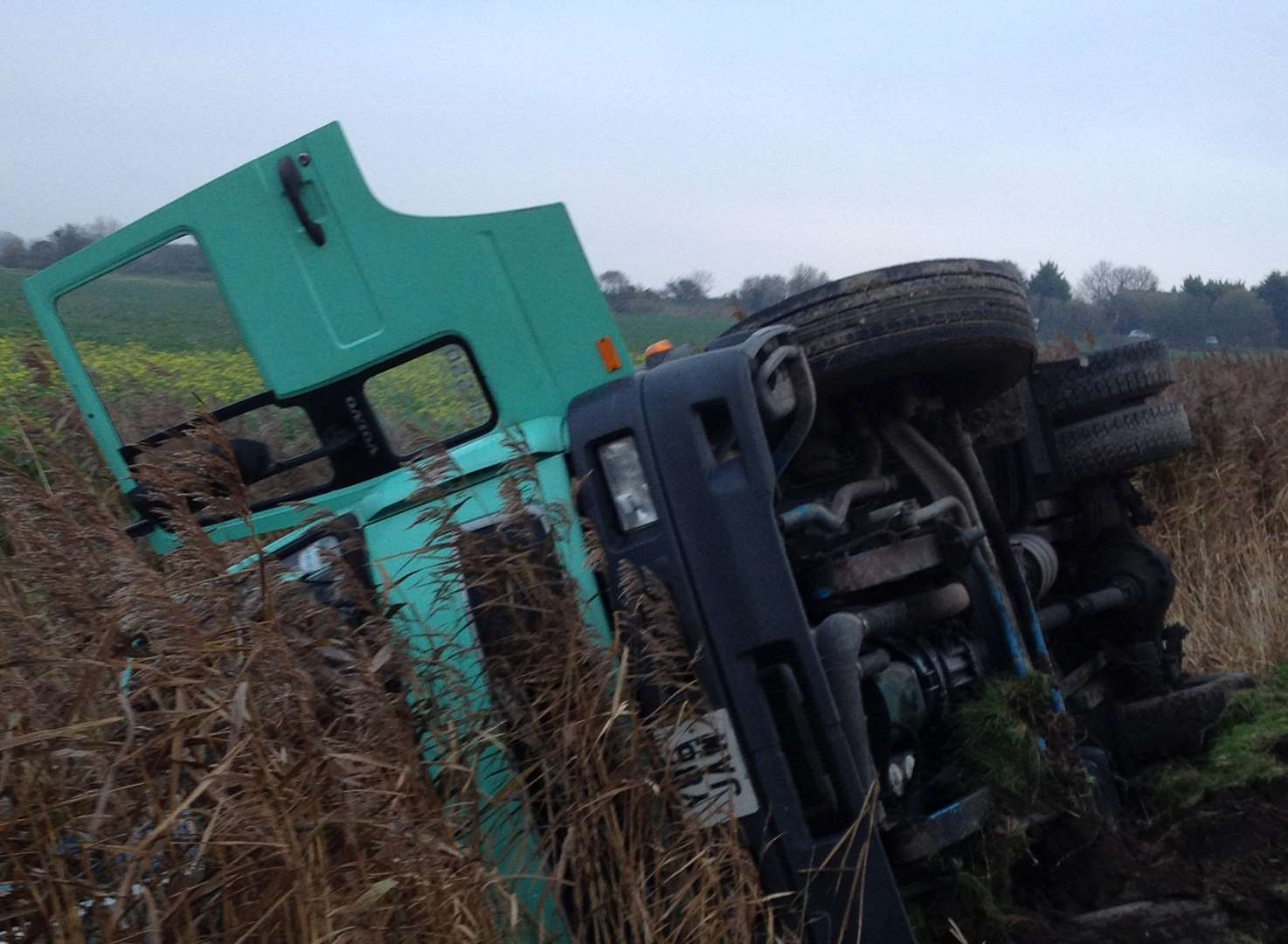 Fire ladder used to rescue driver after ditch crash