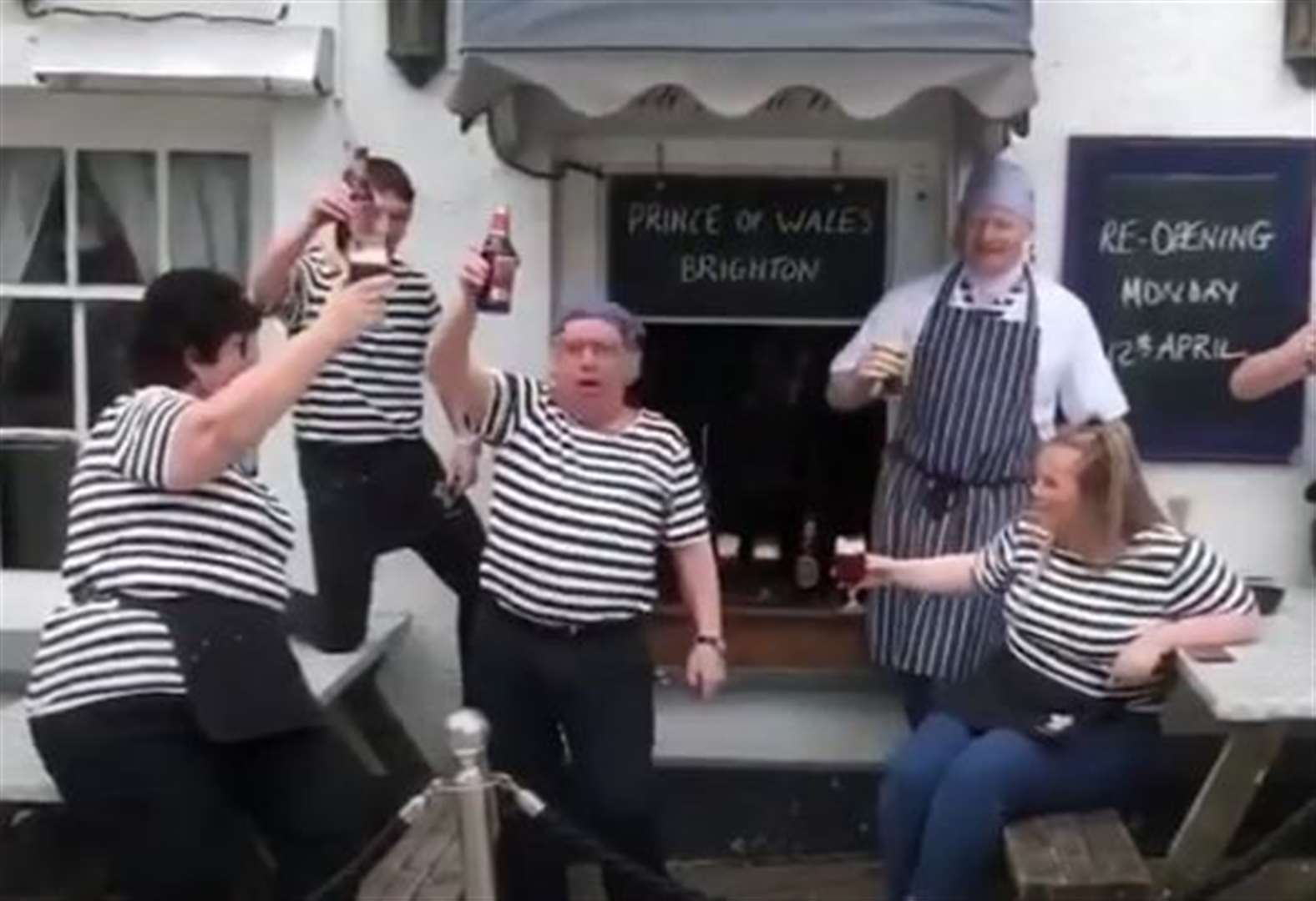 Staff perform hit sea shanty to celebrate pubs re-opening
