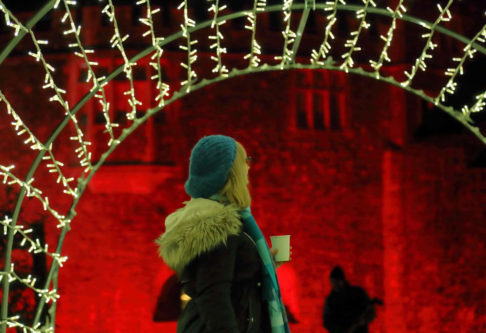 Castle gardens transformed by festive lights