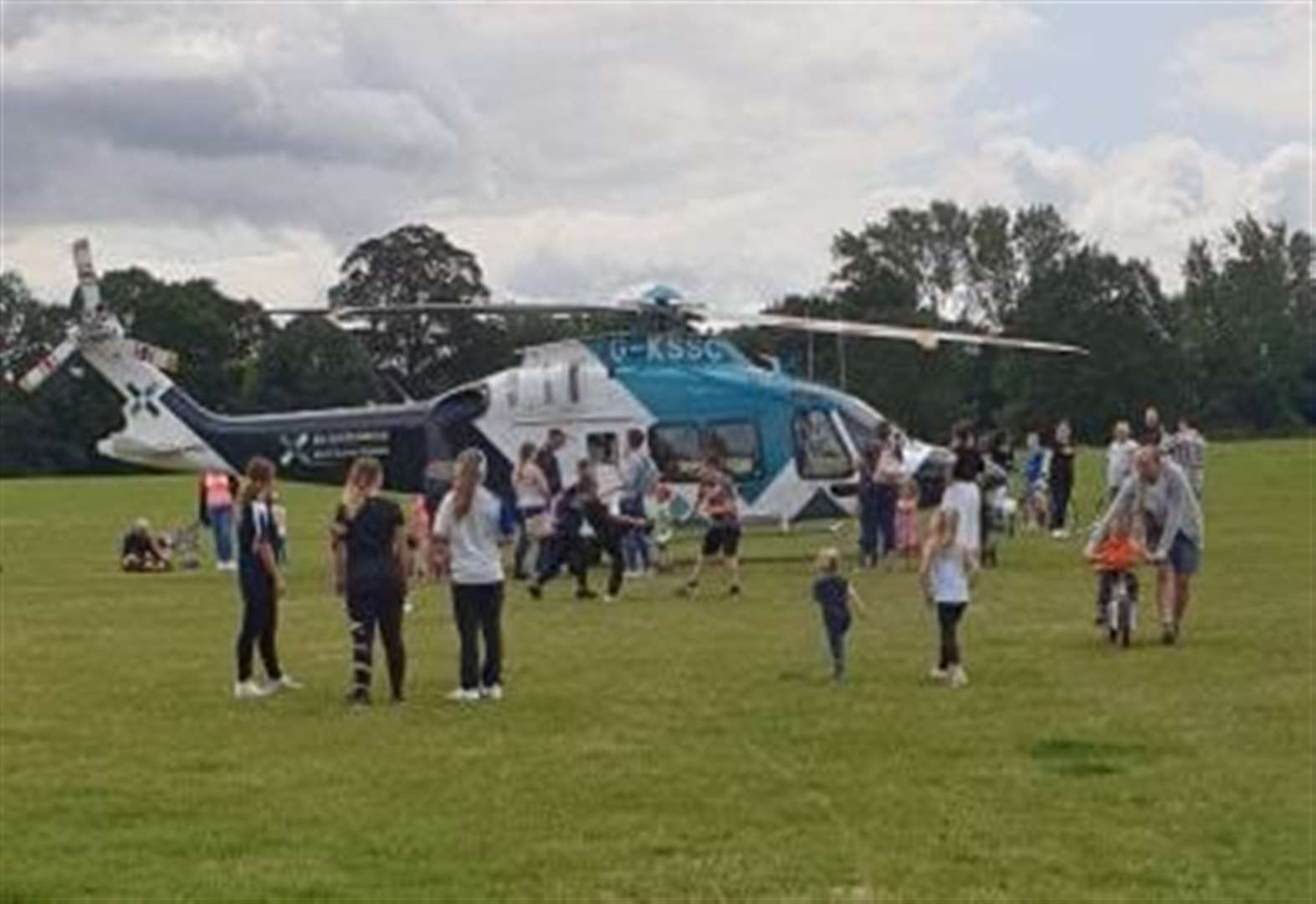 Air ambulance lands at park