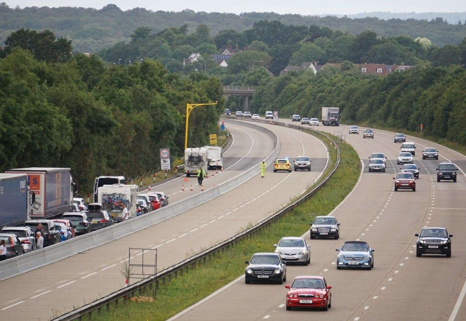 Delays after separate motorway crashes