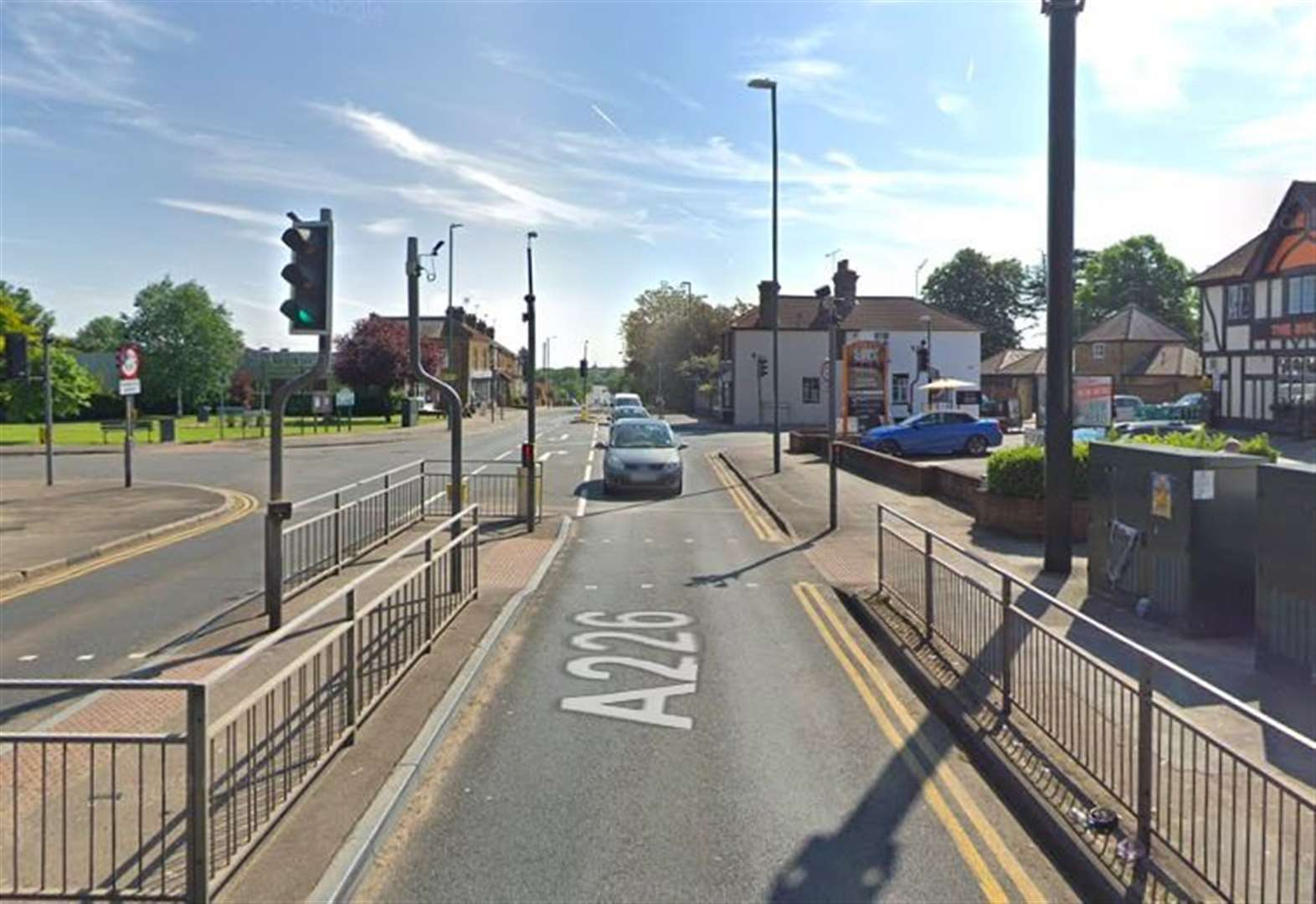 Motorcyclist in hospital after collision