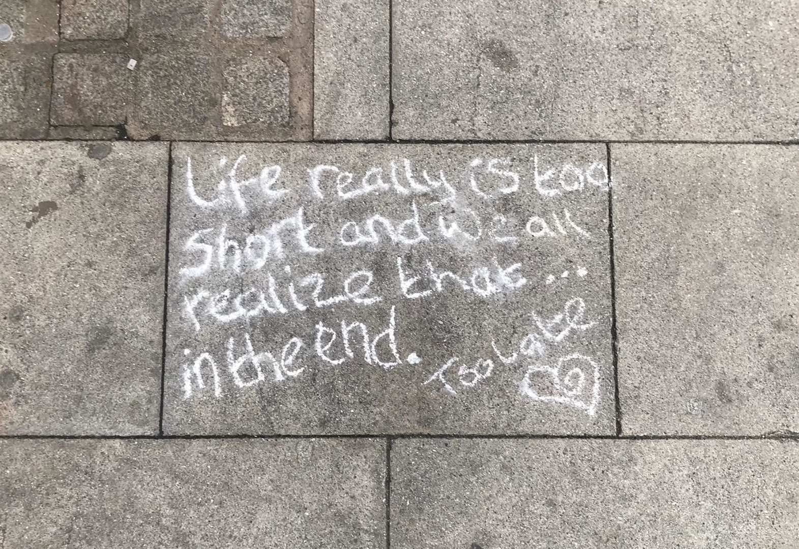 Mystery messages scribbled around town