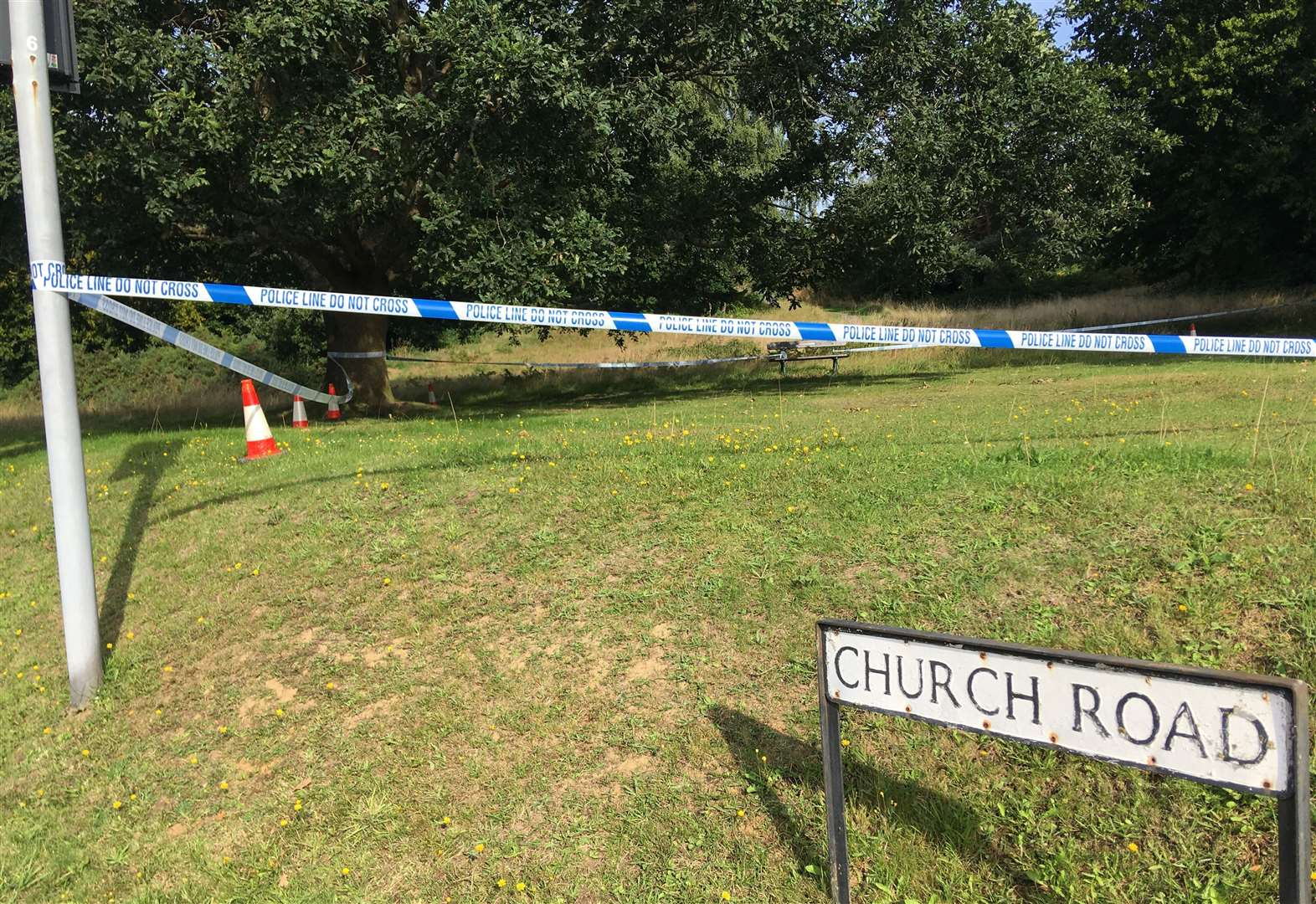 Police remain where body found