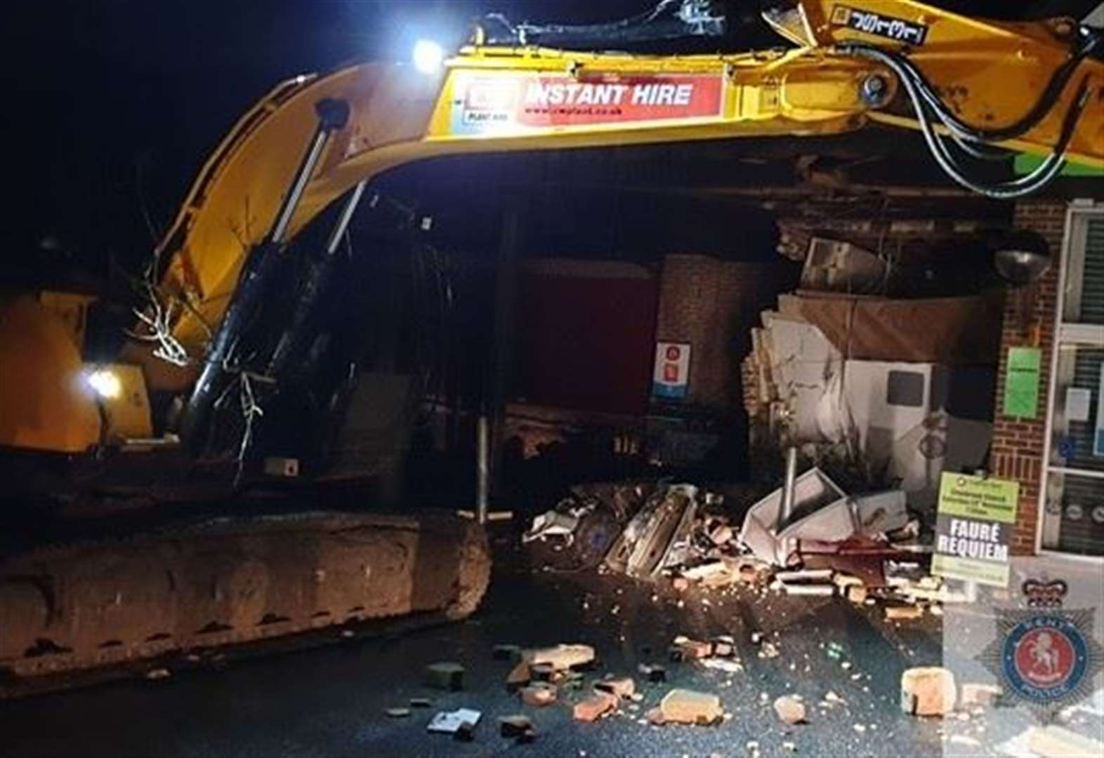Digger used to smash open cash machine