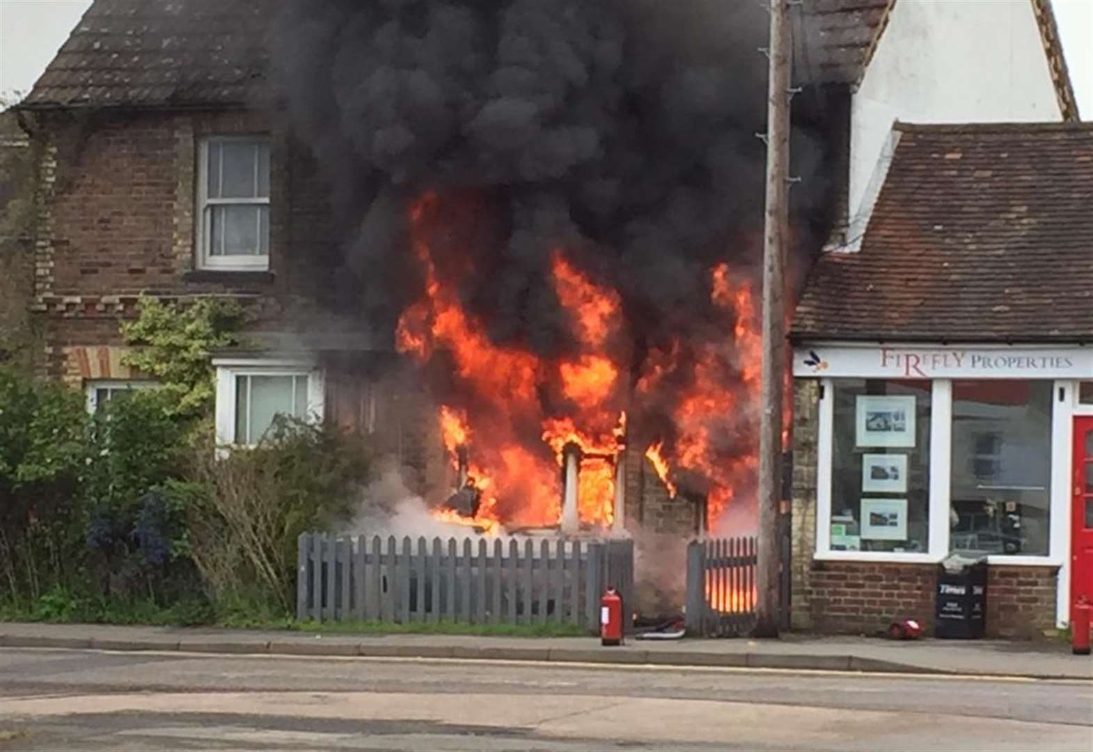 Flats engulfed by fire