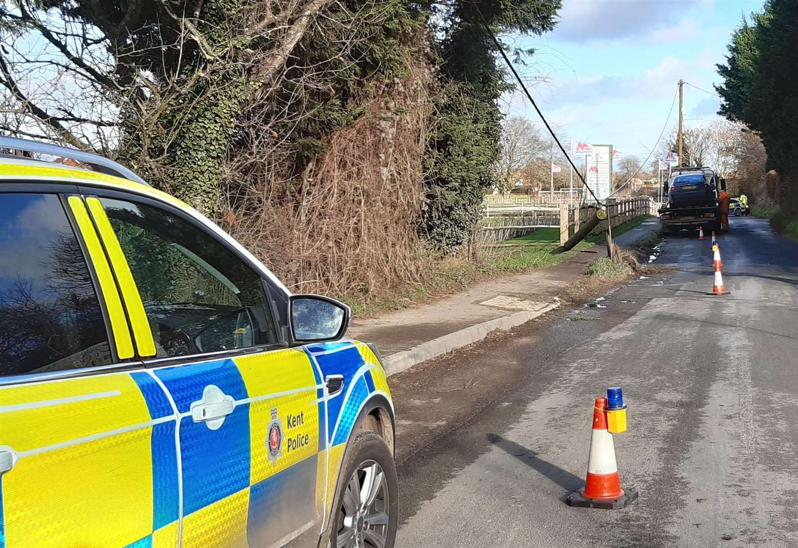 Power fully restored after car crashes into telegraph pole