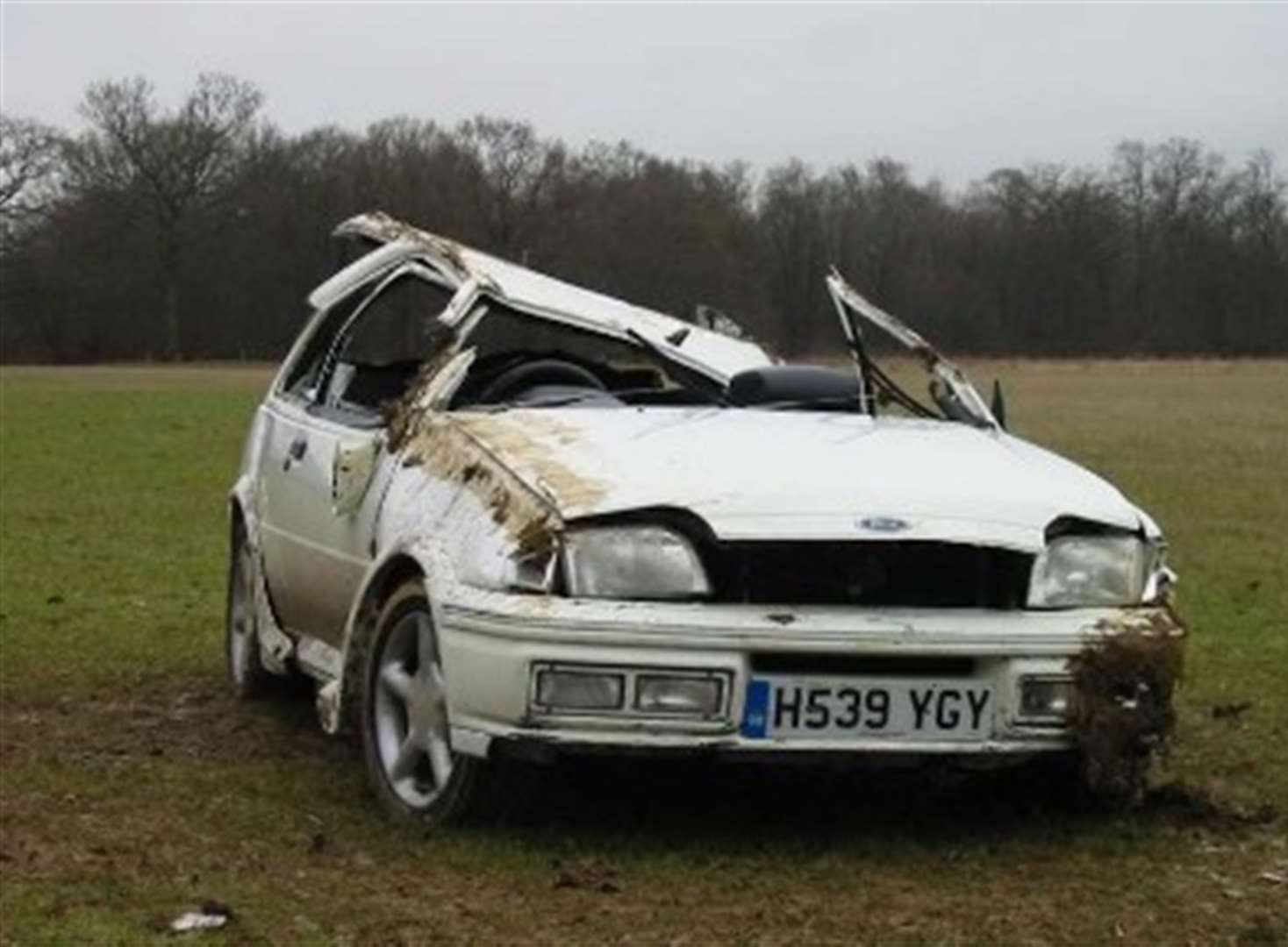 Woman hurt as car crashes into field