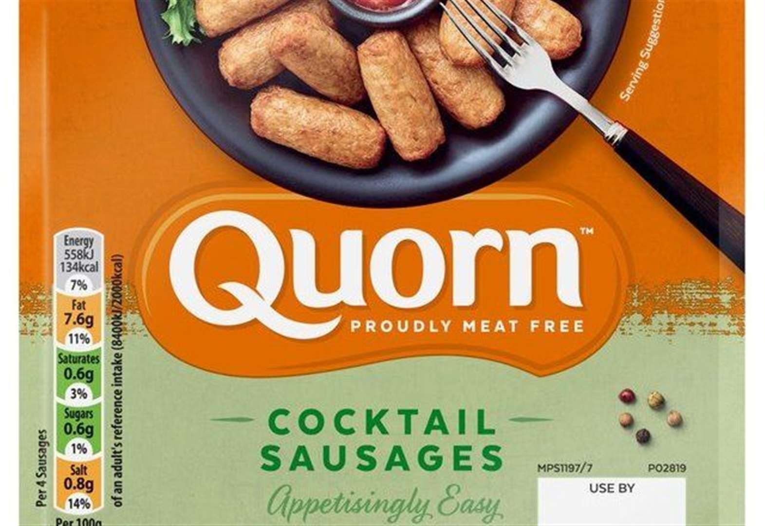 Quorn cocktail sausages spiked with real chicken nugget