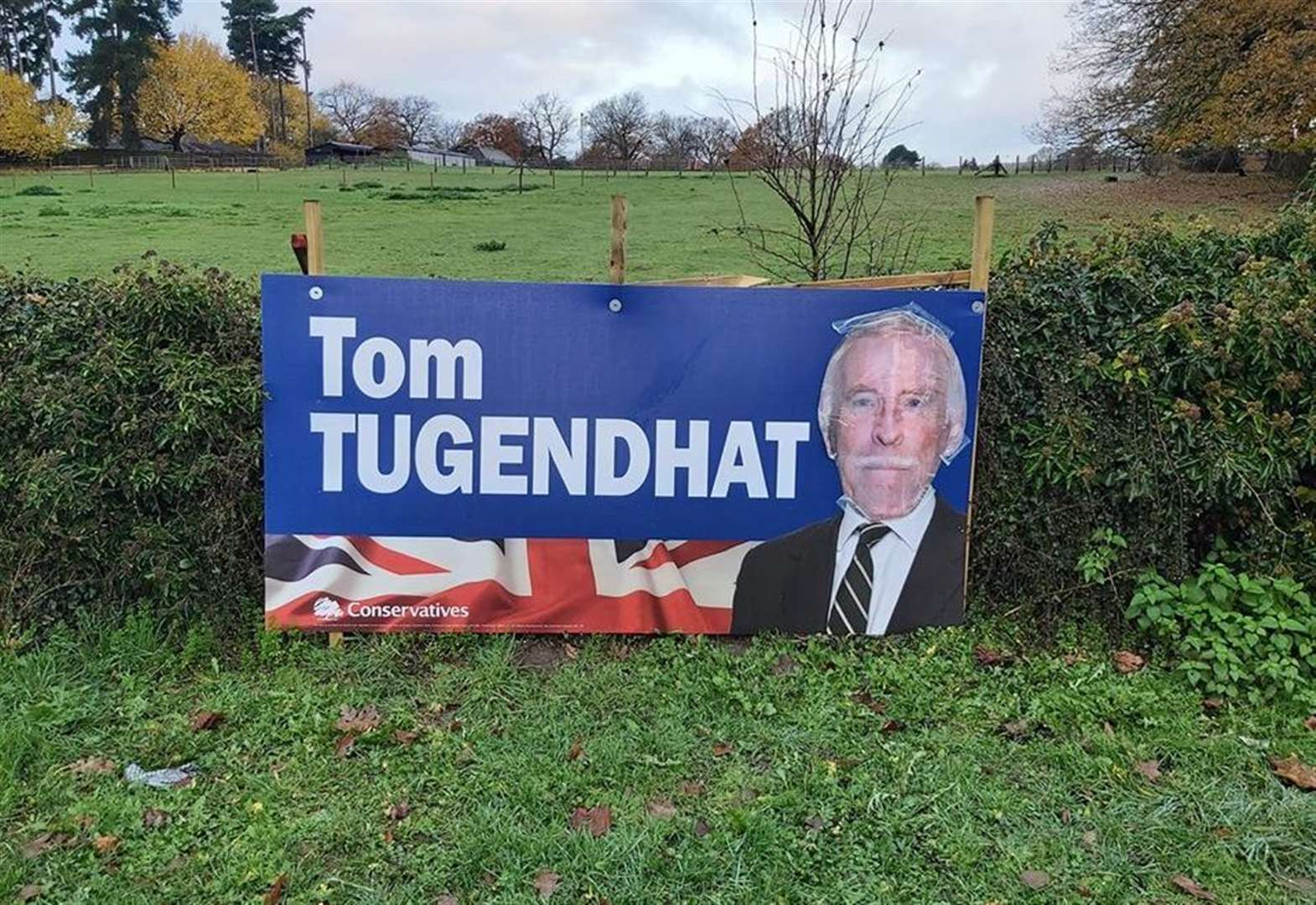 Pranksters target candidate's banners - again