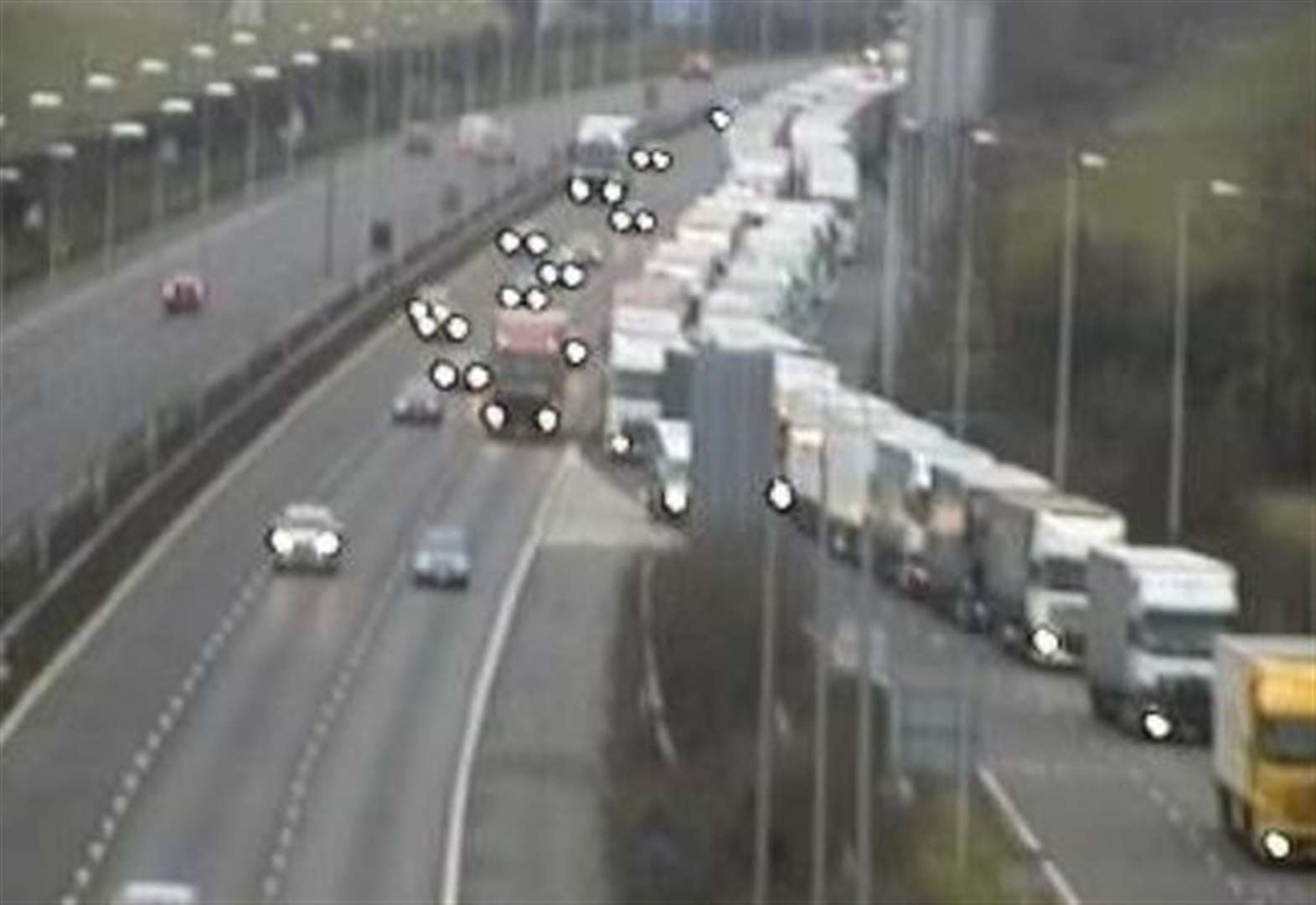 Lorry queue blocks motorway
