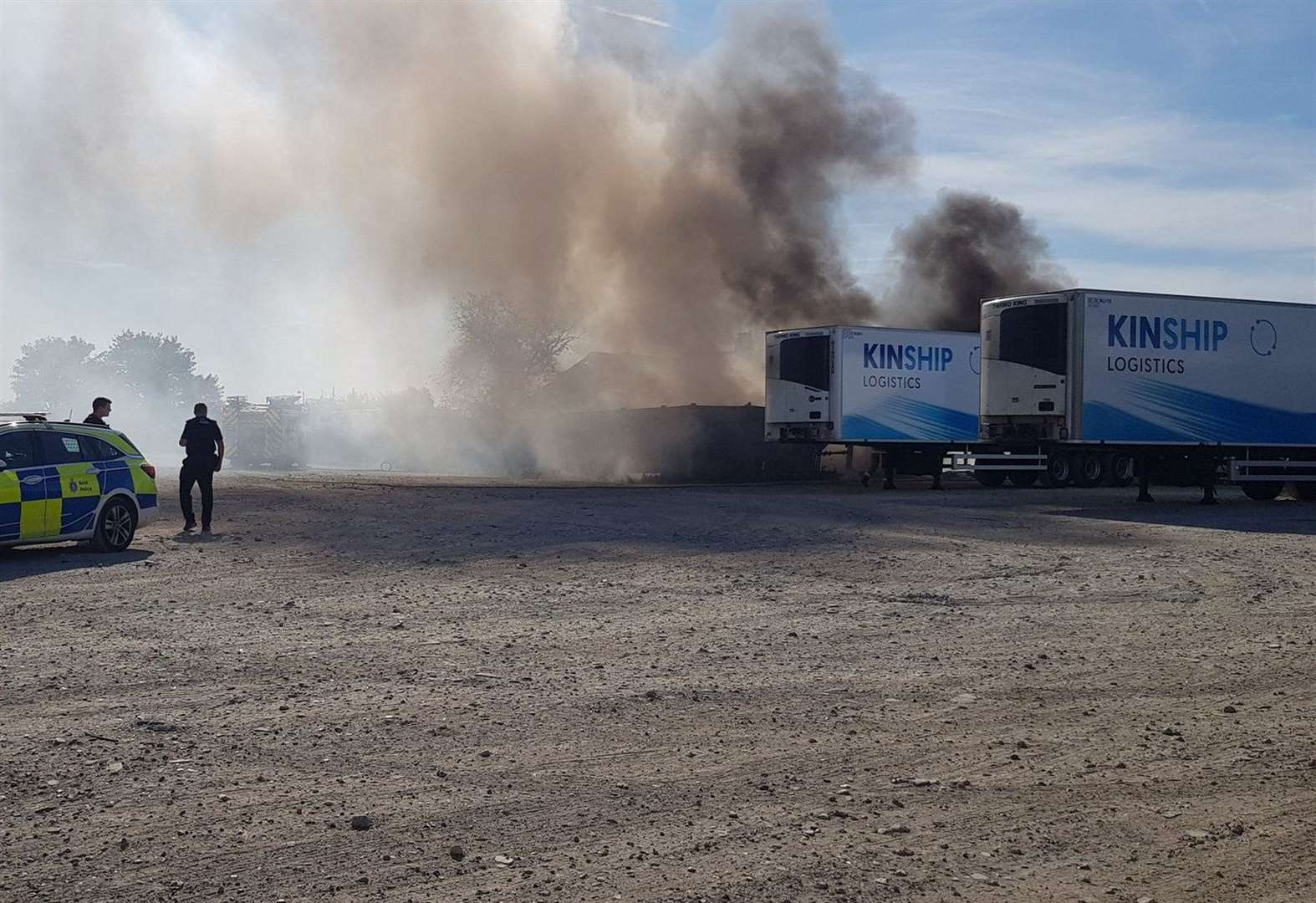 Lorry trailer on fire