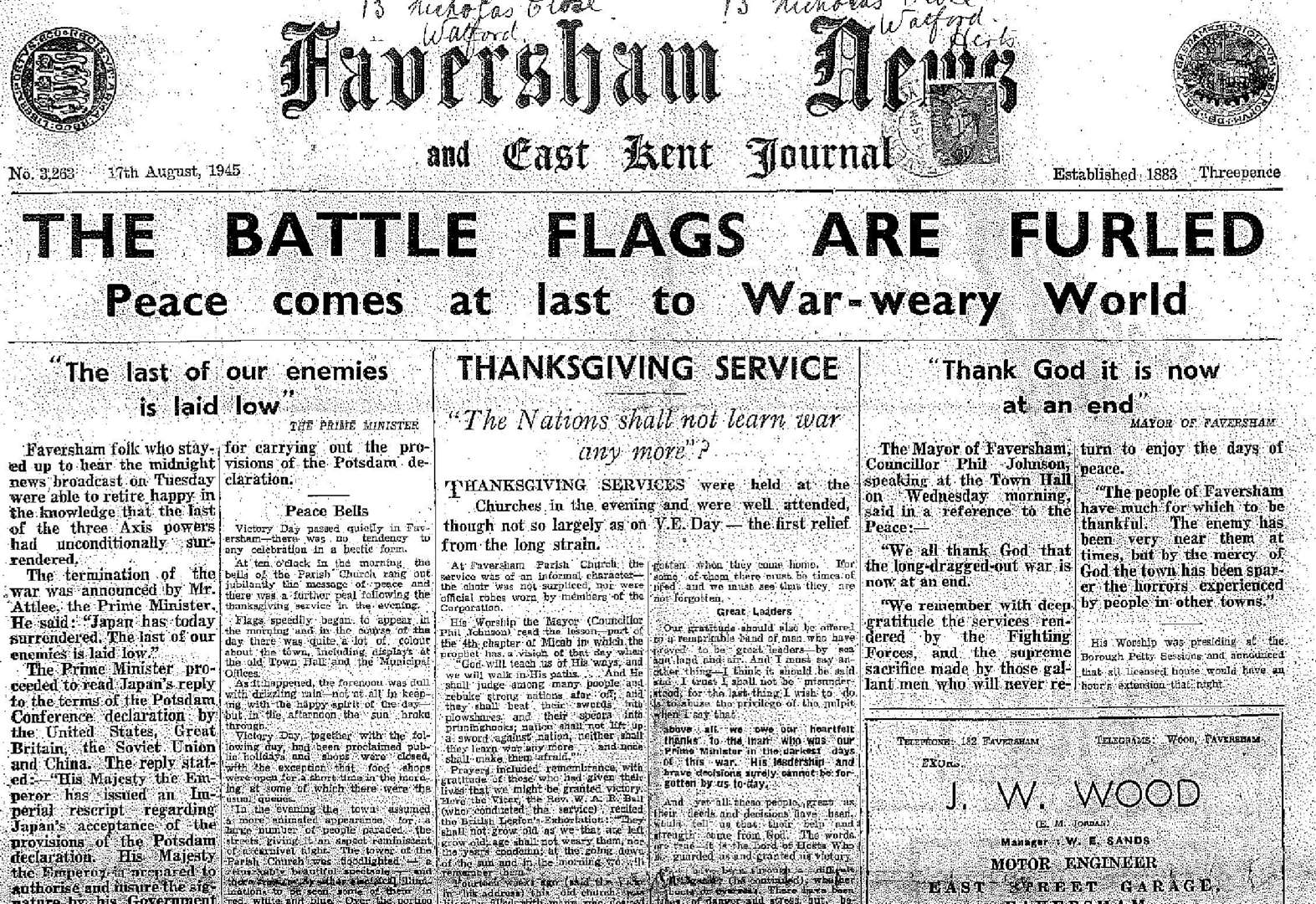 Historic wartime paper unearthed