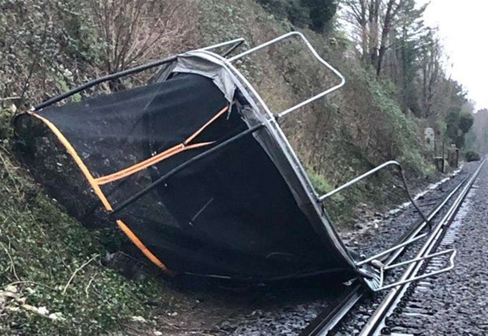 Trampoline on tracks causes disruption