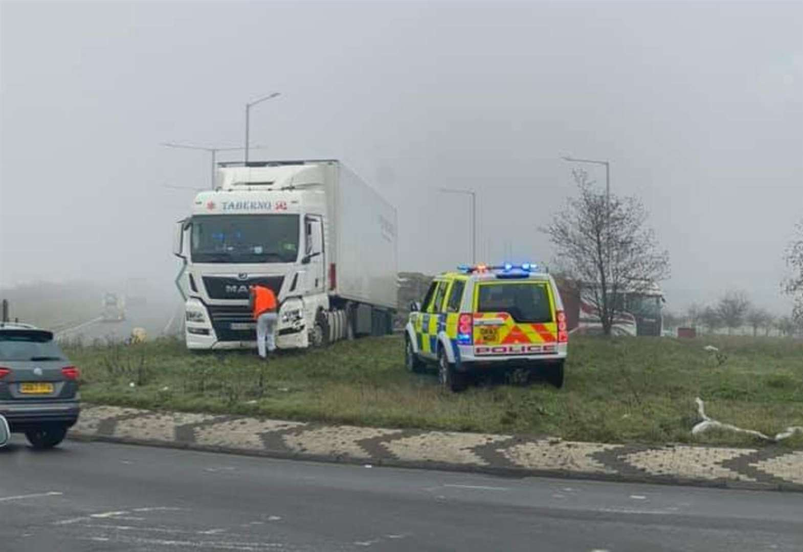 Lorry driven on top of roundabout