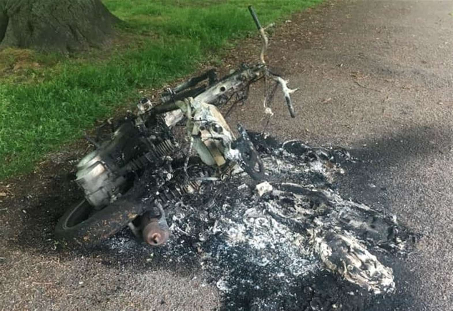 Burnt out moped prompts police probe