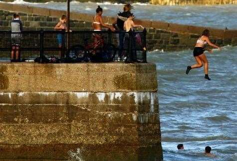Youngsters were pictured tombstoning at Dover seafront