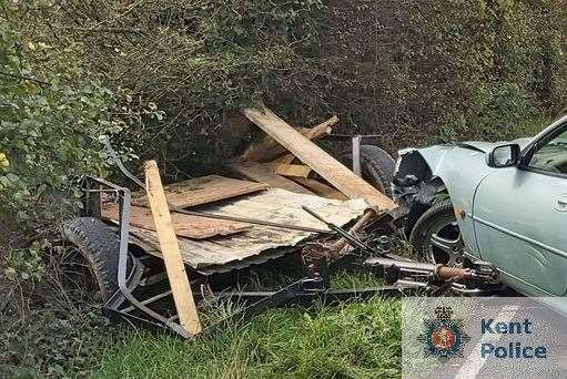 The aftermath of the crash in Biddenden yesterday. Photo: Kent Police