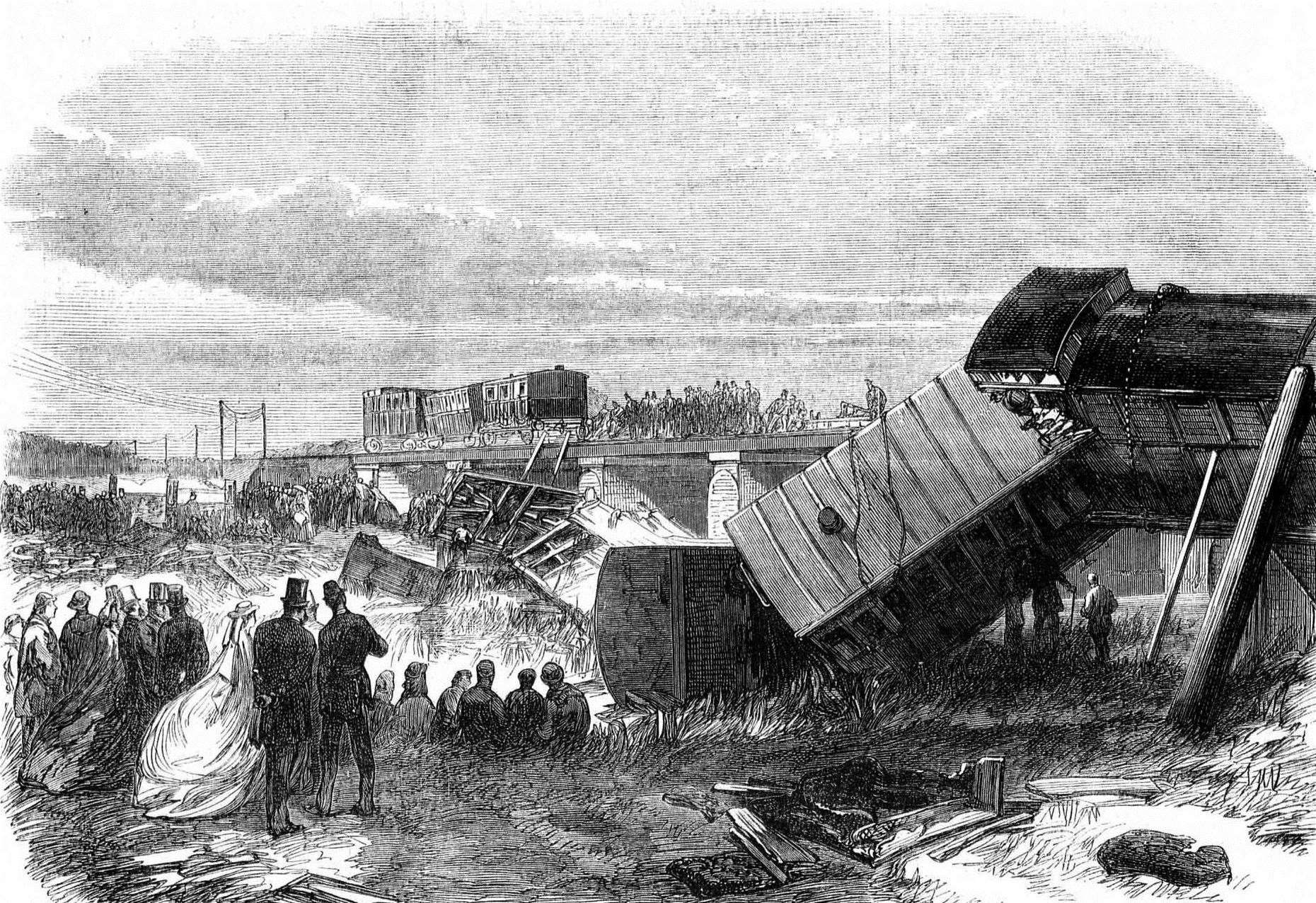 An illustration of the scene of the Staplehurst railway crash