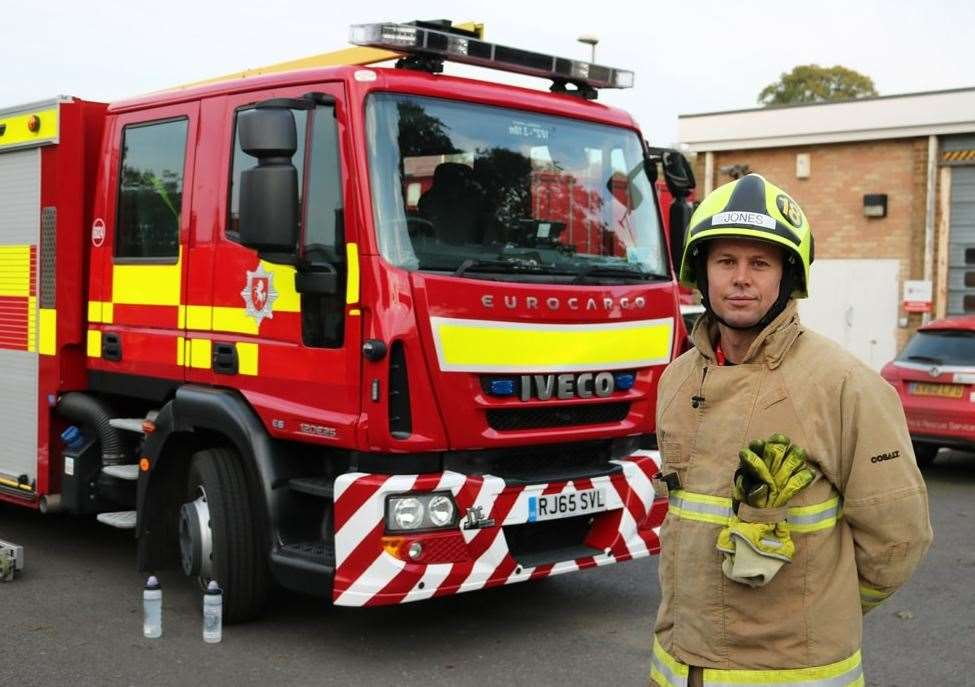 Geraint Jones looks to qualify as an on-call firefighter with Kent Fire and Rescue Service (KFRS). Picture: PCA