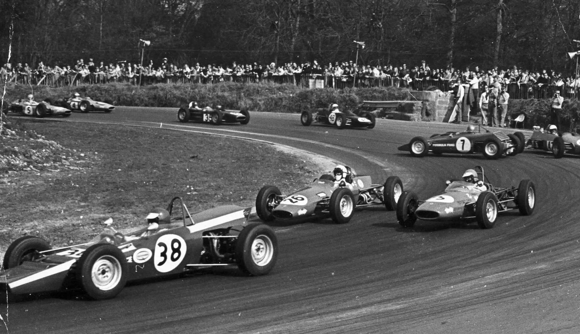 Druids is one of the best spectator spots at Brands - and this shot from 1964 shows one single-seater driver getting it wrong