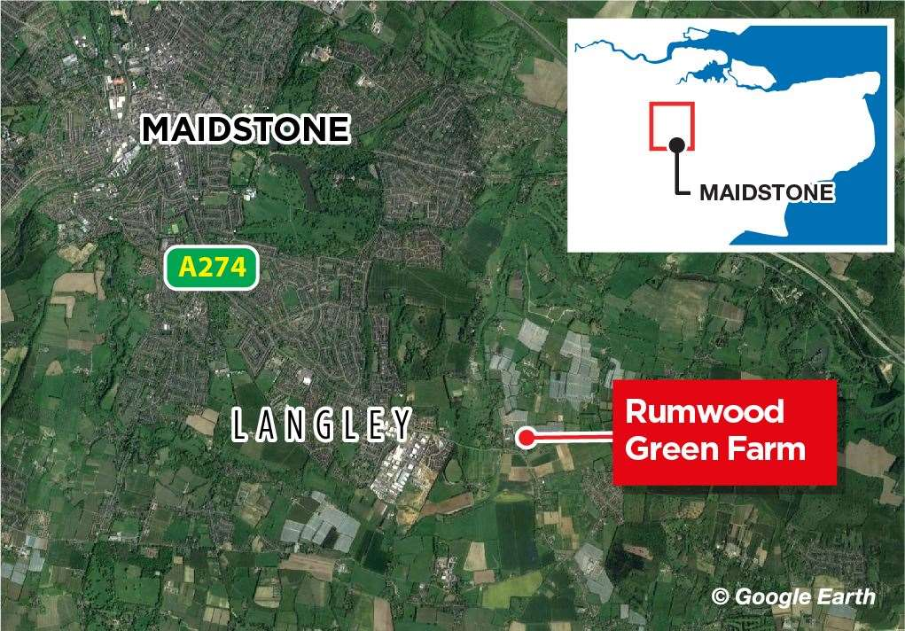 The incident is at Rumwood Green farm in Maidstone. Picture: KM Graphics