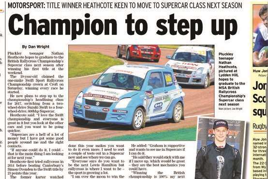 How the Kentish Express reported Heathcote's Supercar graduation last October
