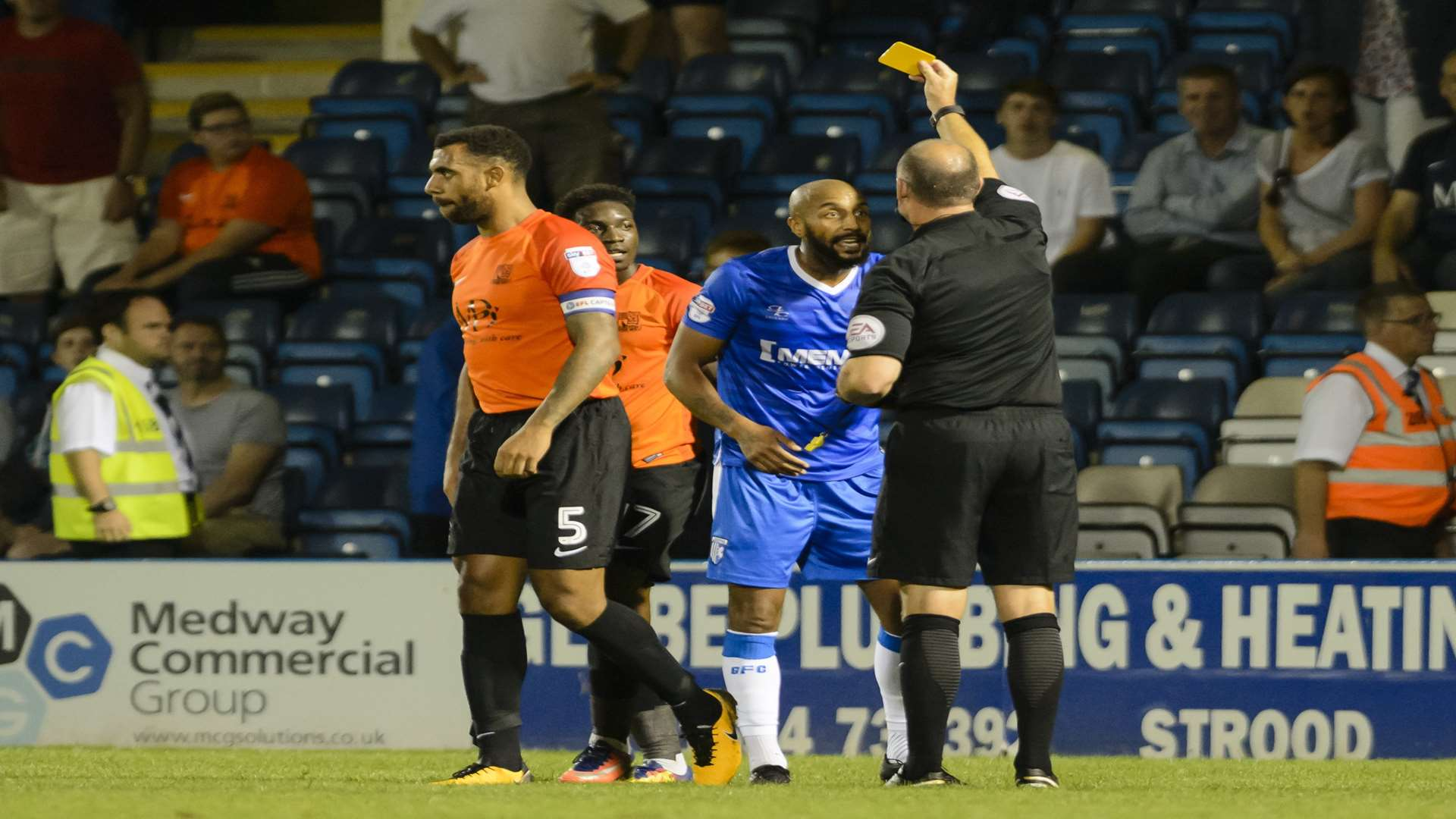 Josh Parker is booked for a foul Picture: Andy Payton