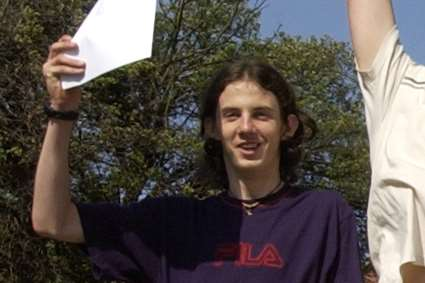 Richard Huckle pictured celebrating his A-level results at the Harvey Grammar School in 2003.