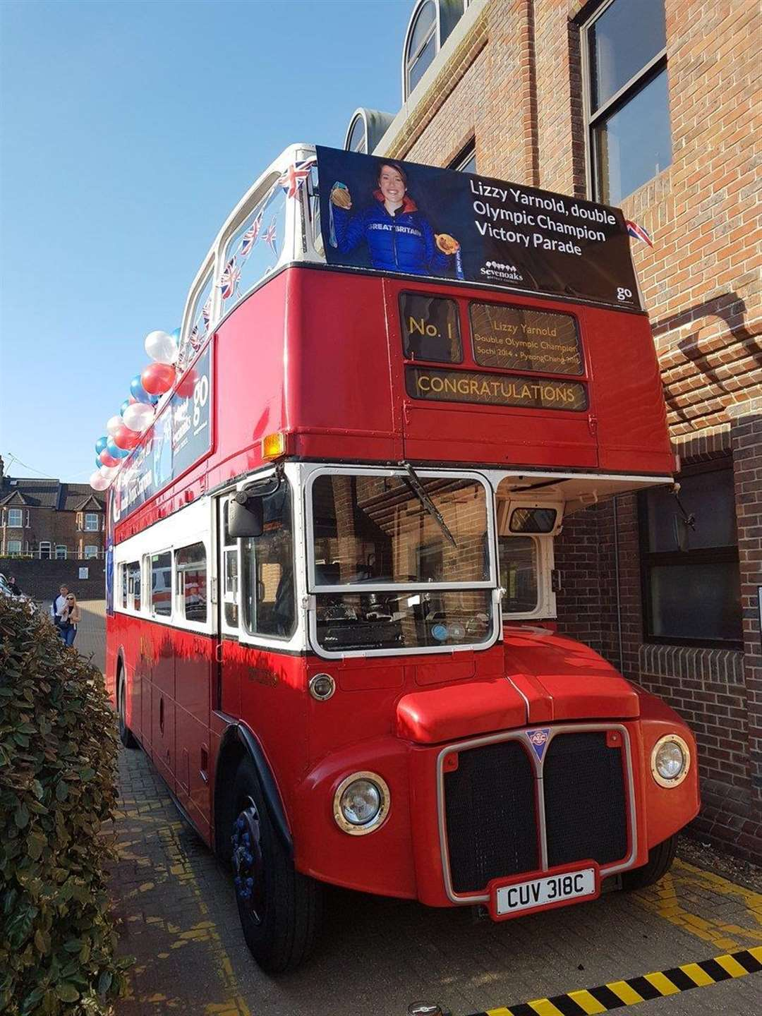 The open-top bus which will carry Lizzy Yarnold through Sevenoaks