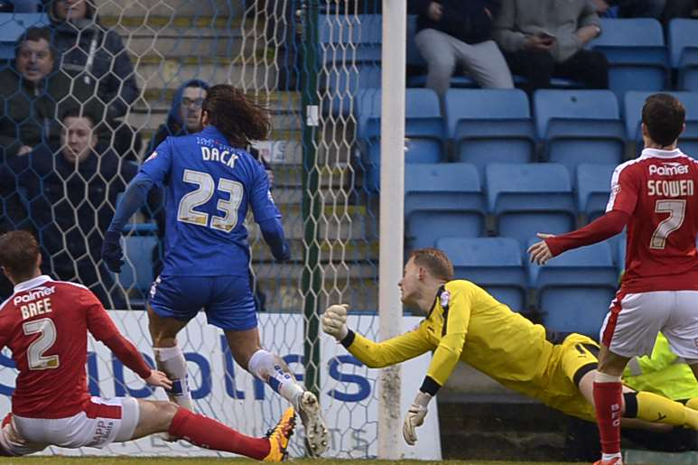 Bradley Dack scores the winner on Saturday - his 15th goal of the season Picture: Barry Goodwin