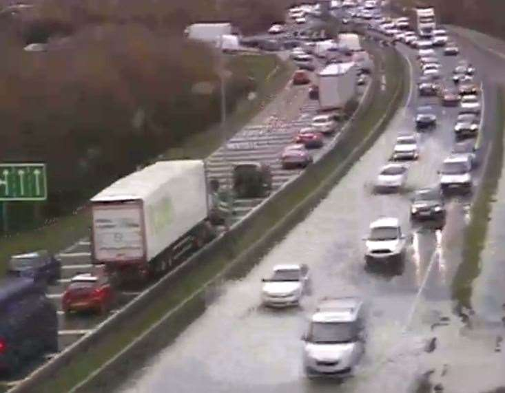 A burst water main has caused traffic problems on the A249. Photo: Kent Highways