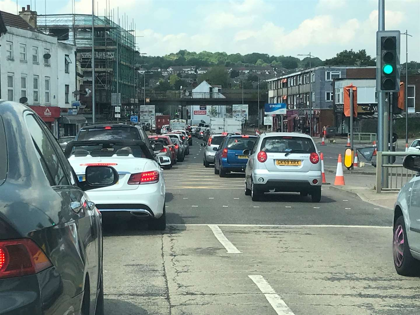 Traffic queueing through Strood following the opening of the McDonald's drive thru. Picture: Zak Owen
