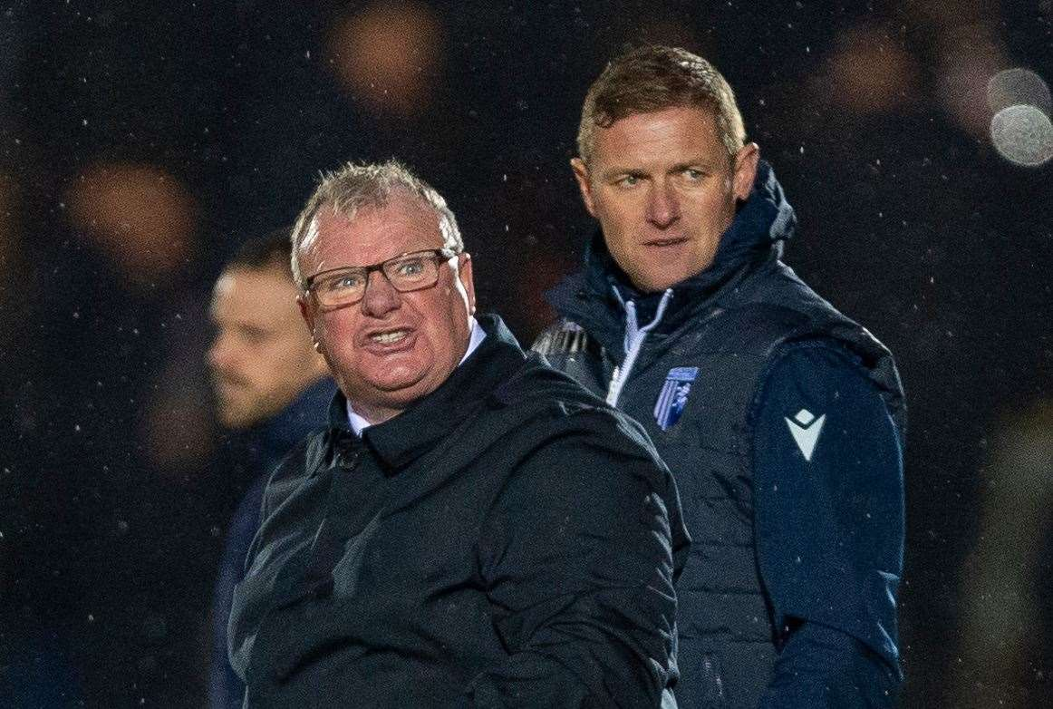 Gills manager Steve Evans directs his anger towards referee Kevin Johnson on the final whistle at AFC Wimbledon Picture: Ady Kerry