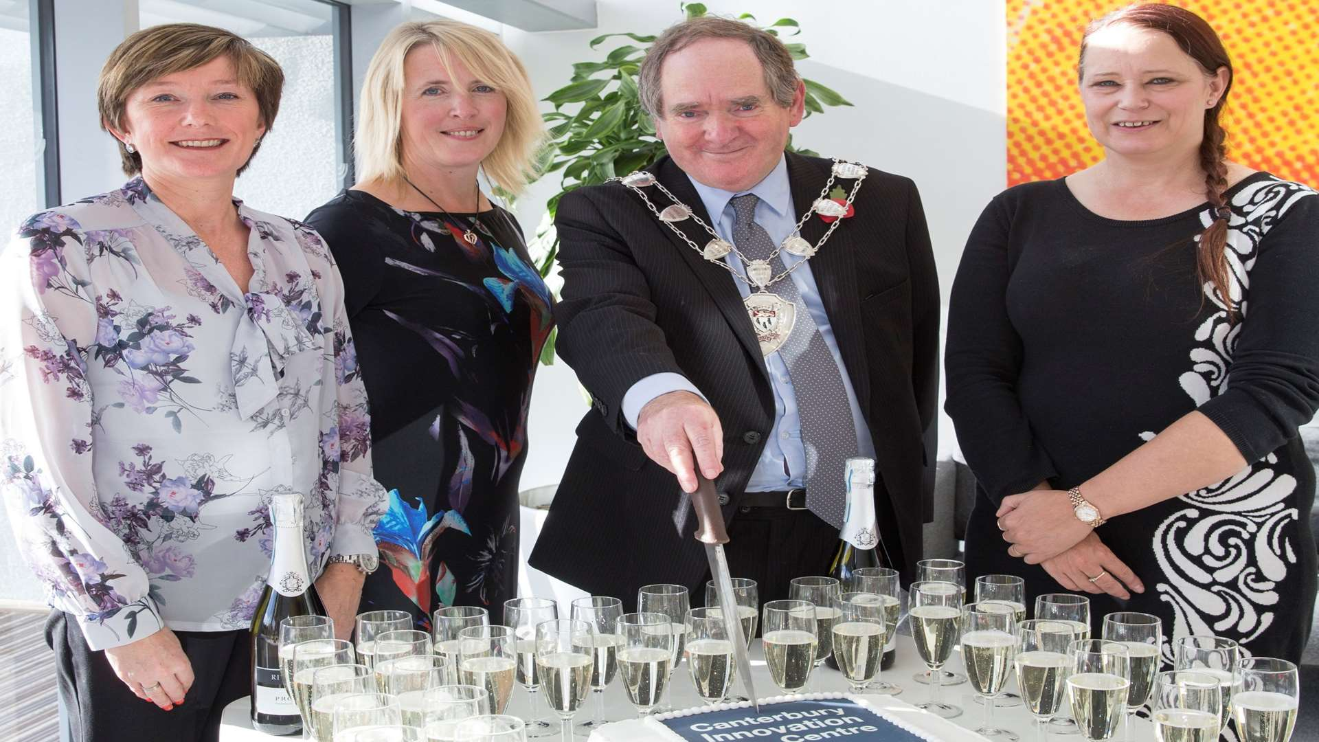 From left, assistant centre manager Tracy Blazey, centre manager Jo Clark, Sheriff of Canterbury Cllr Tony Austin and Debbie Spalding of East Kent Spatial Development Company