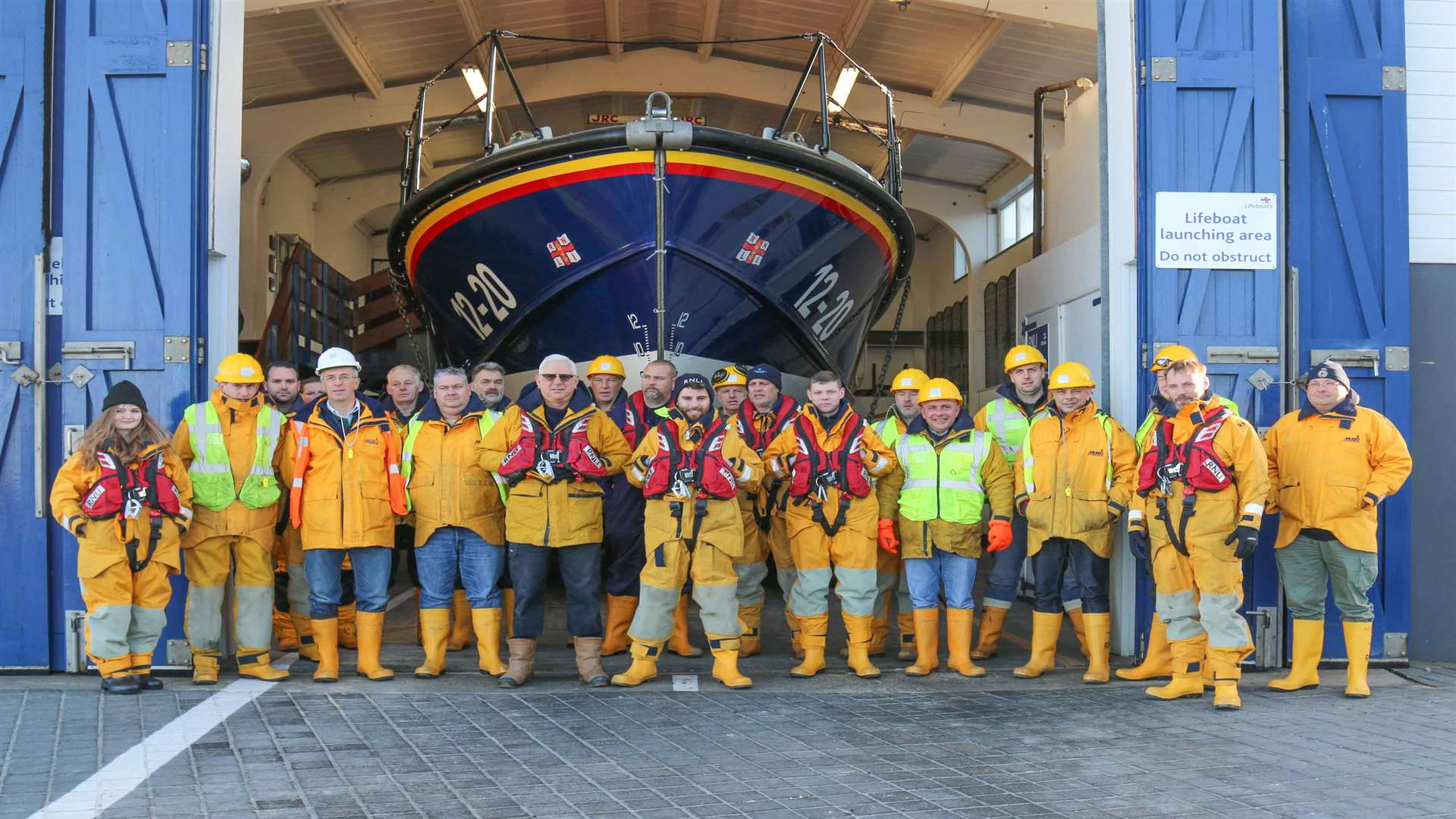 Alex with Margate's lifeboat crew. Pic: RNLI