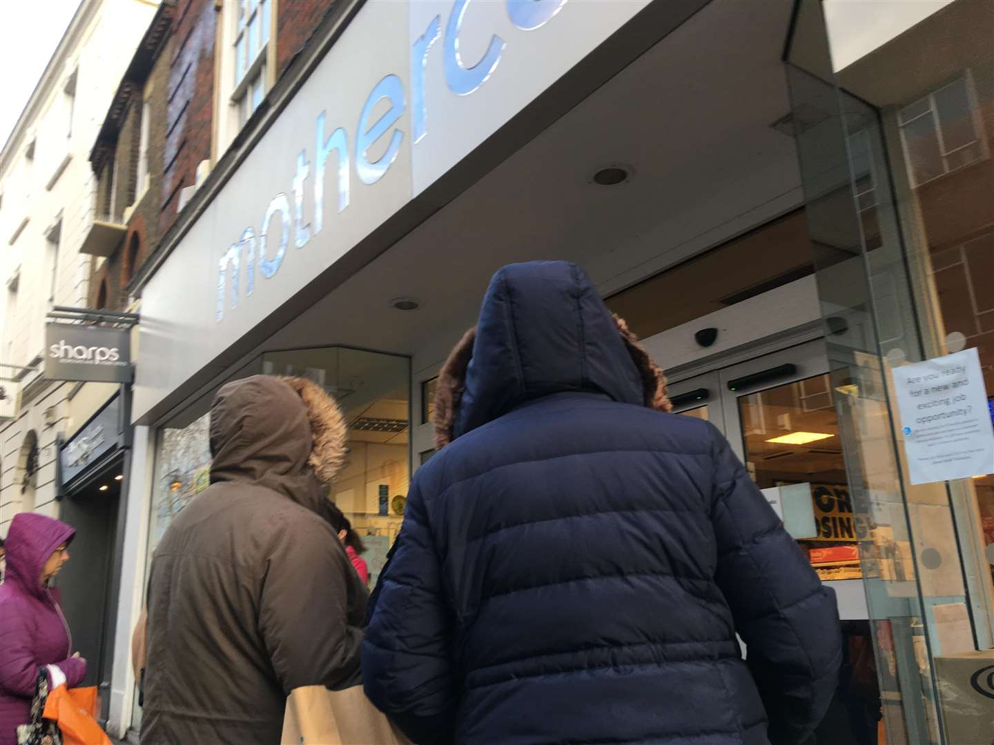 Shoppers gathered outside Mothercare in Week Street, Maidstone looking for a bargain