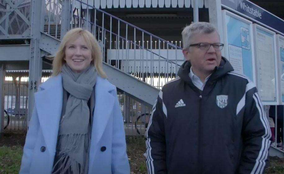 Rosie Duffield with Panorama presenter Adrian Chiles at Whitstable station. Picture: BBC