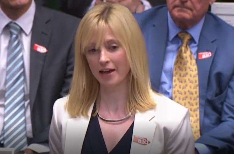Rosie Duffield addresses the Prime Minister. Picture: Parliament TV (11899021)