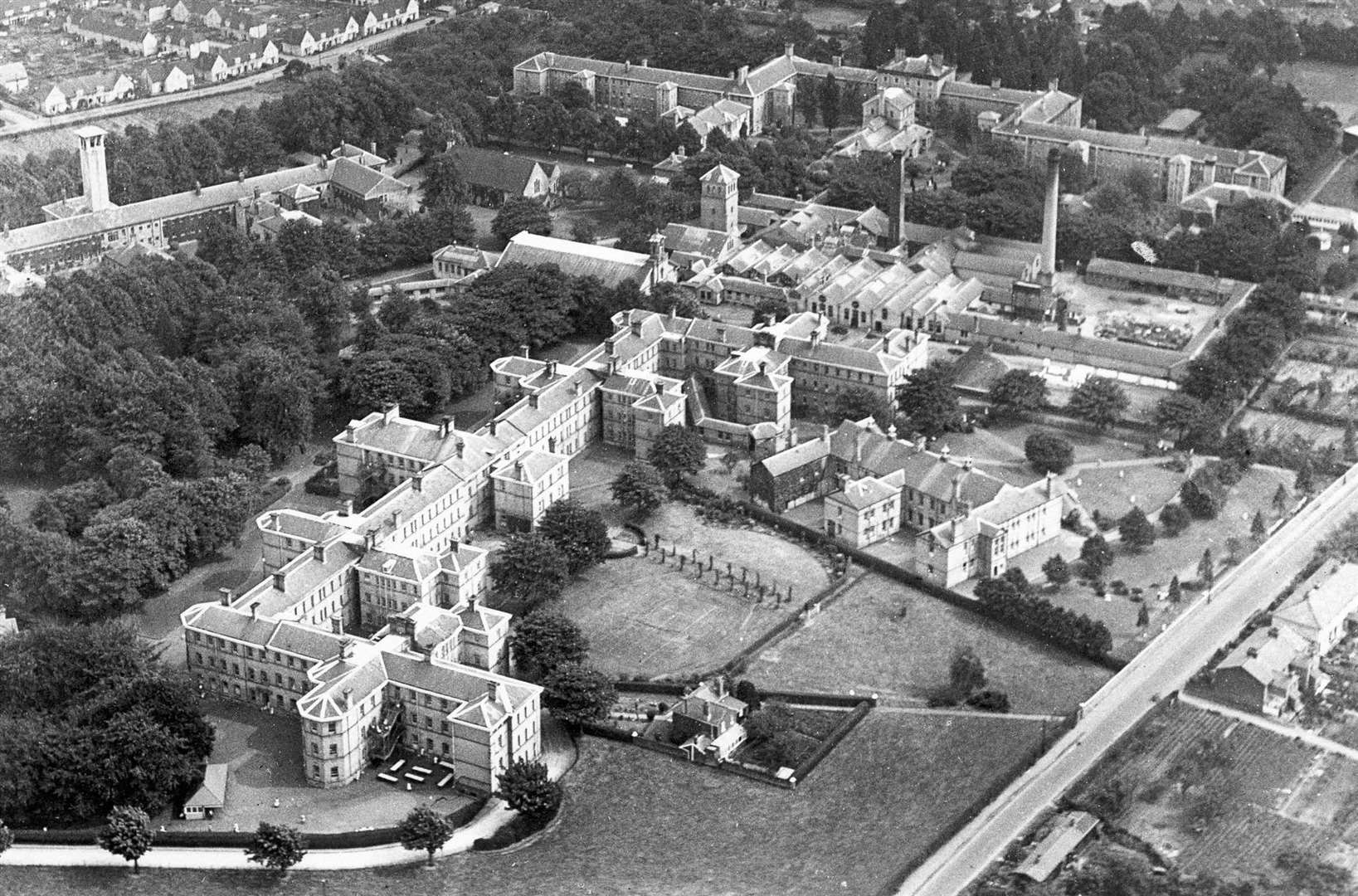 This aerial view of Oakwood Hospital was taken in February, 1934. Picture: Images of Maidstone, ps112-113