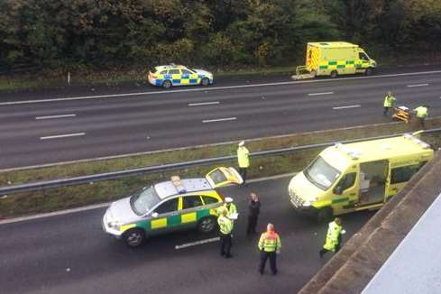 Emergency services at the scene of the bridge fall. Picture: Laura Fox