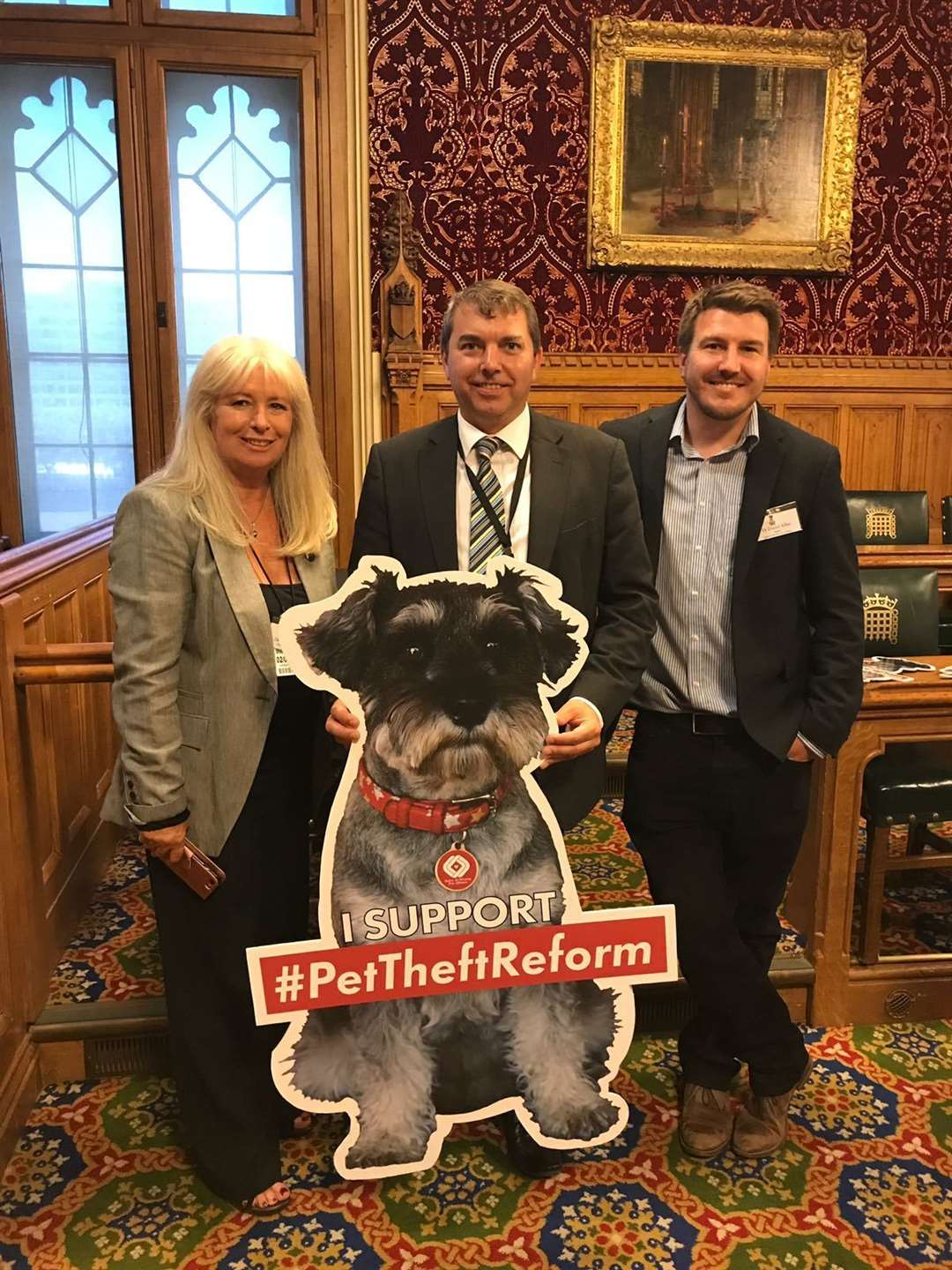 From left: Stolen and Missing Pets Alliance Chief Debbie Matthews, Dartford MP Gareth Johnson and SAMPRA Patron and pet law reform researcher Dr Daniel Allen